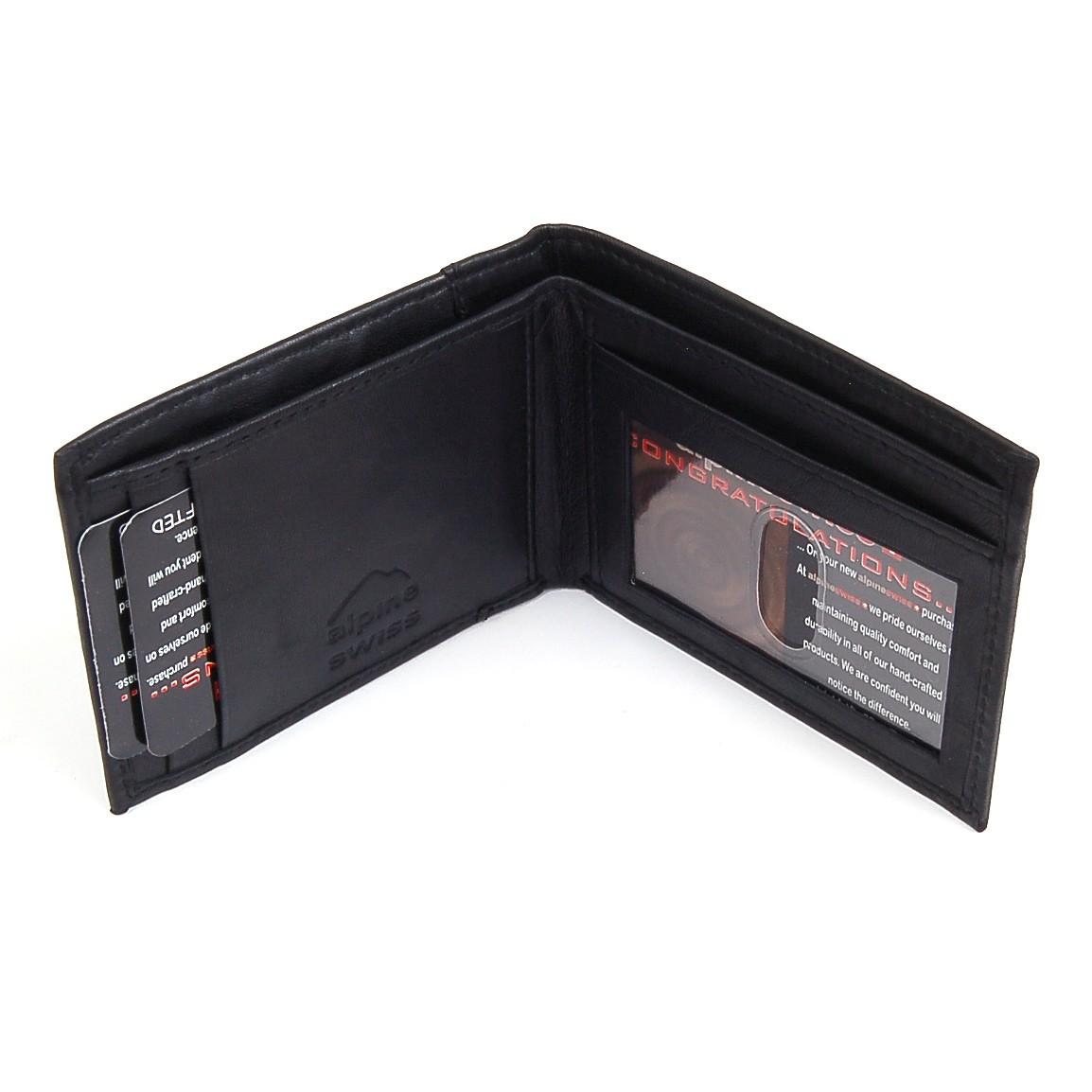Alpine-Swiss-Mens-Thin-Bifold-Wallet-Top-Grain-Leather-EZ-Access-Outer-Card-Slot thumbnail 82