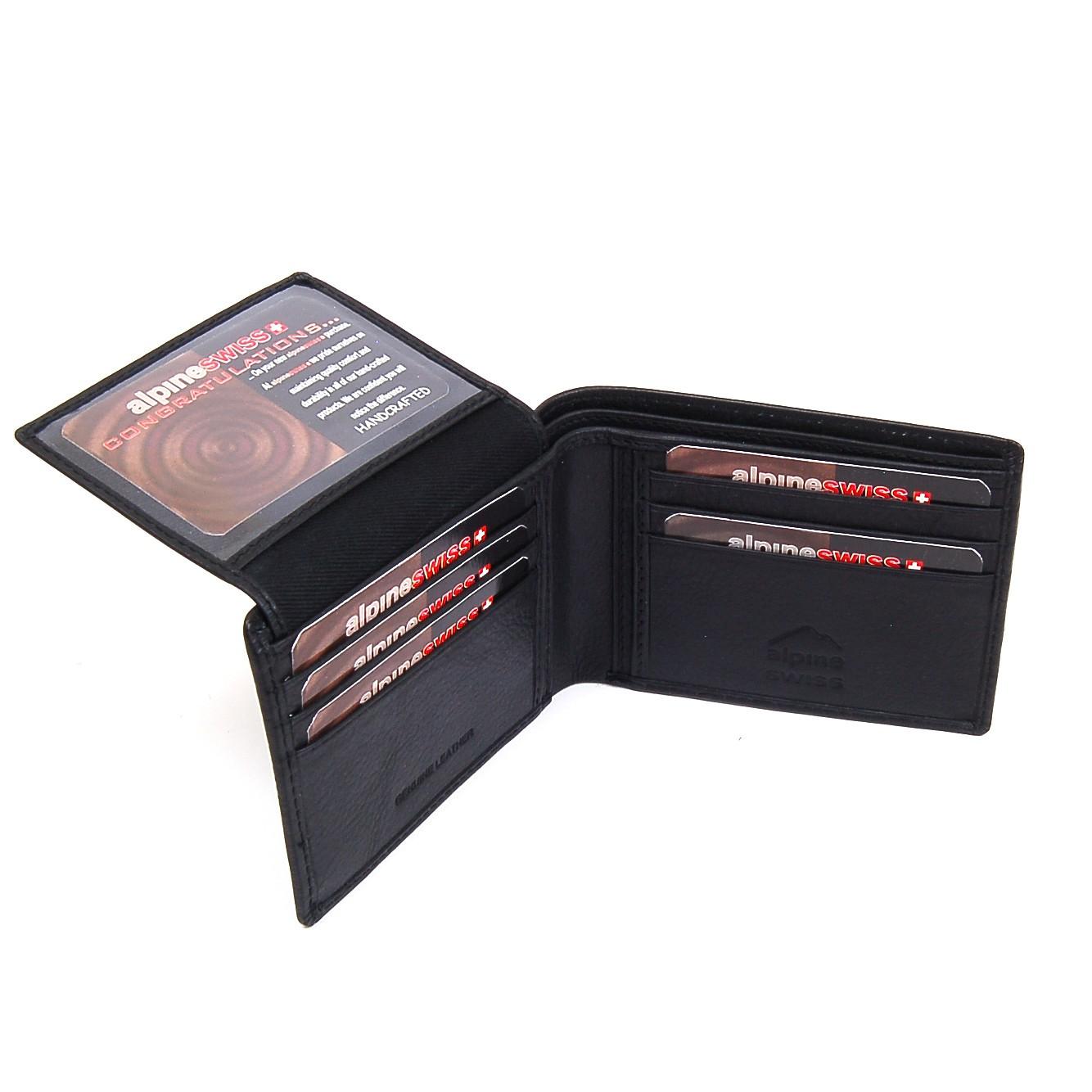 Alpine Swiss Men\'s Deluxe Wallet Genuine Leather 14 Pocket 1 Bill ...