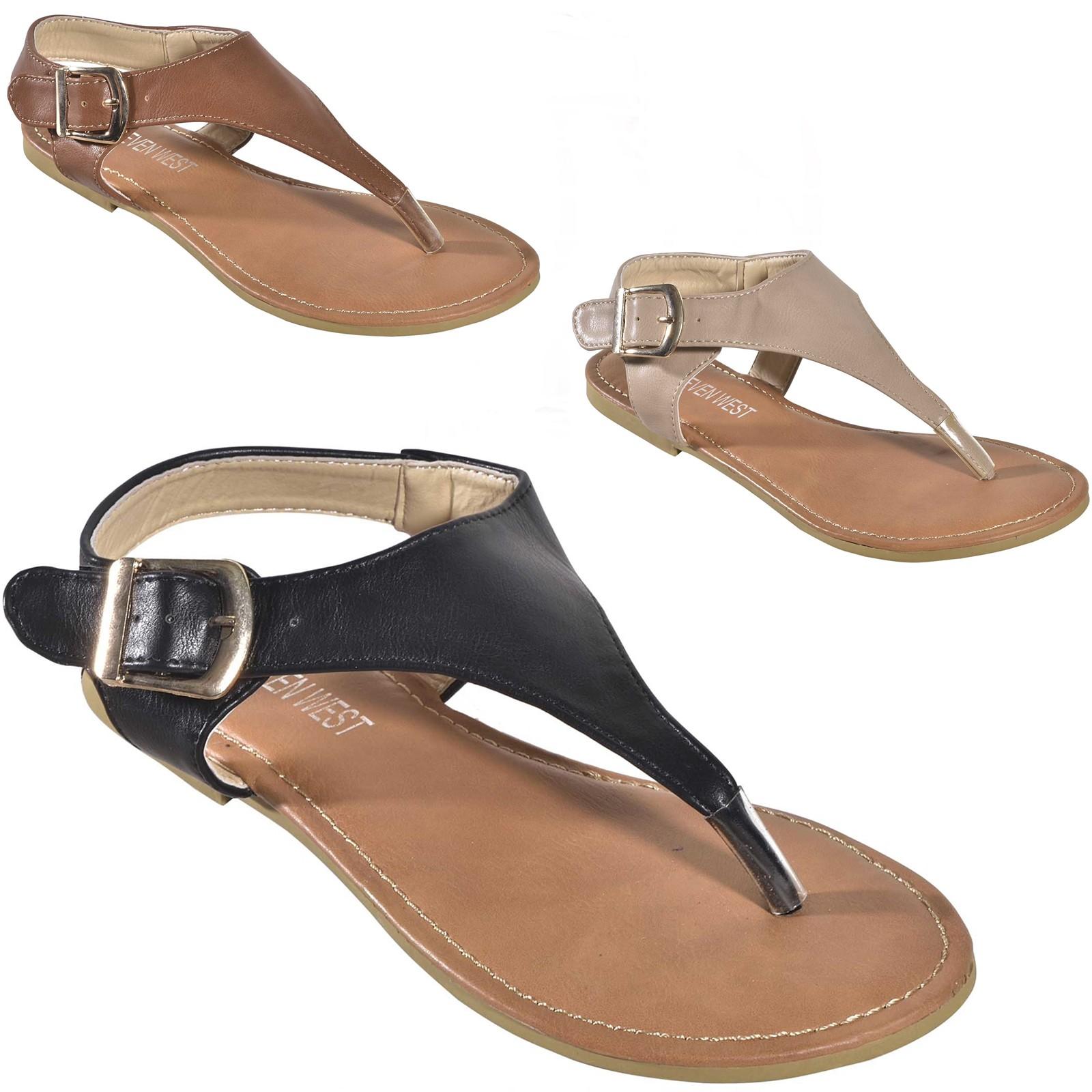 Women S Ankle Strap Buckle Slingback T Strap Thong Roman