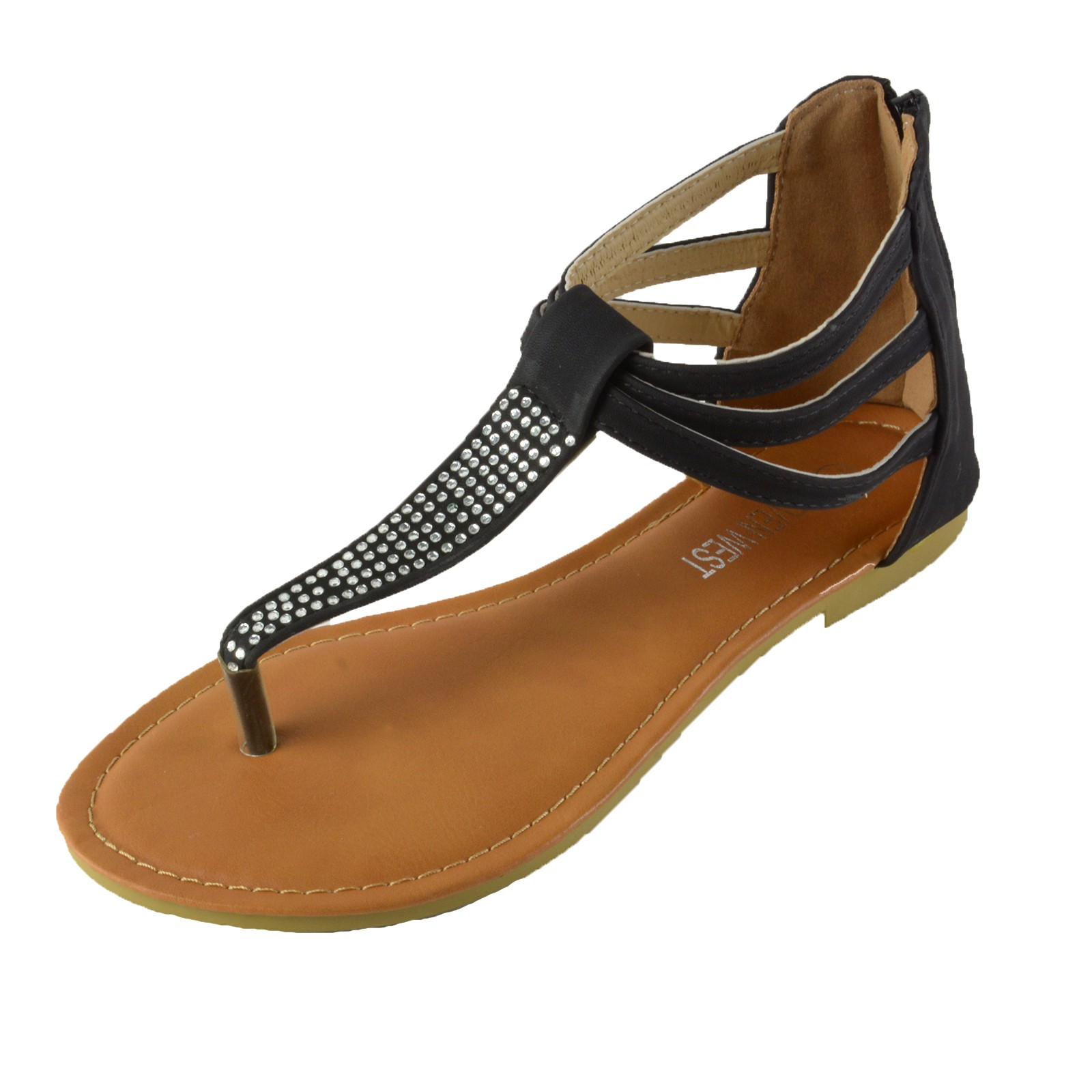 c0a40086286 Women s Rhinestone T-Strap Thong Ankle Strap Back Zip Gladiator Flat ...
