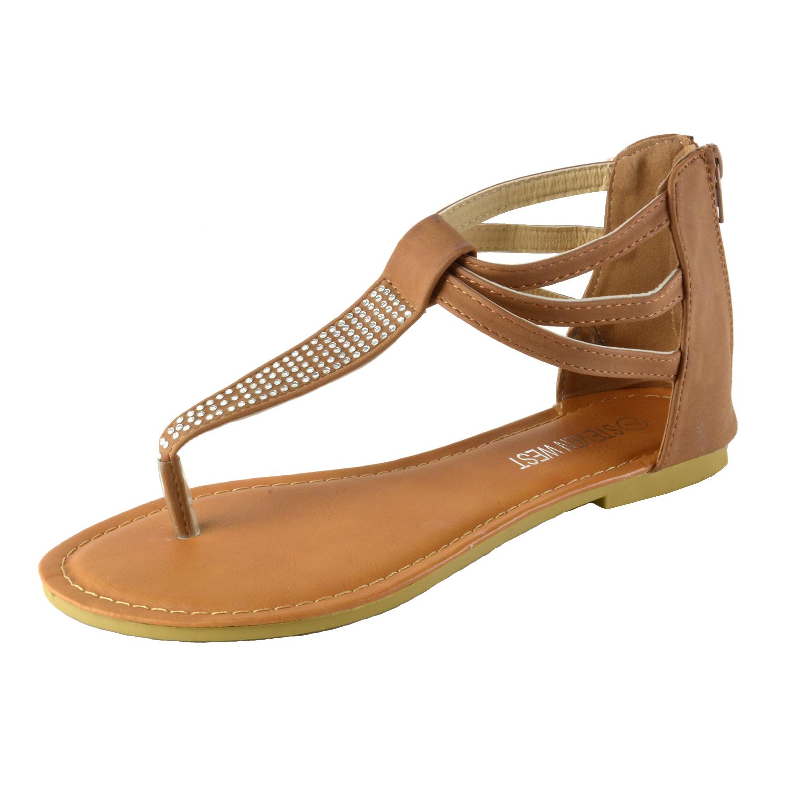 1ca7a8a40 Women s Rhinestone T-Strap Thong Ankle Strap Back Zip Gladiator Flat ...
