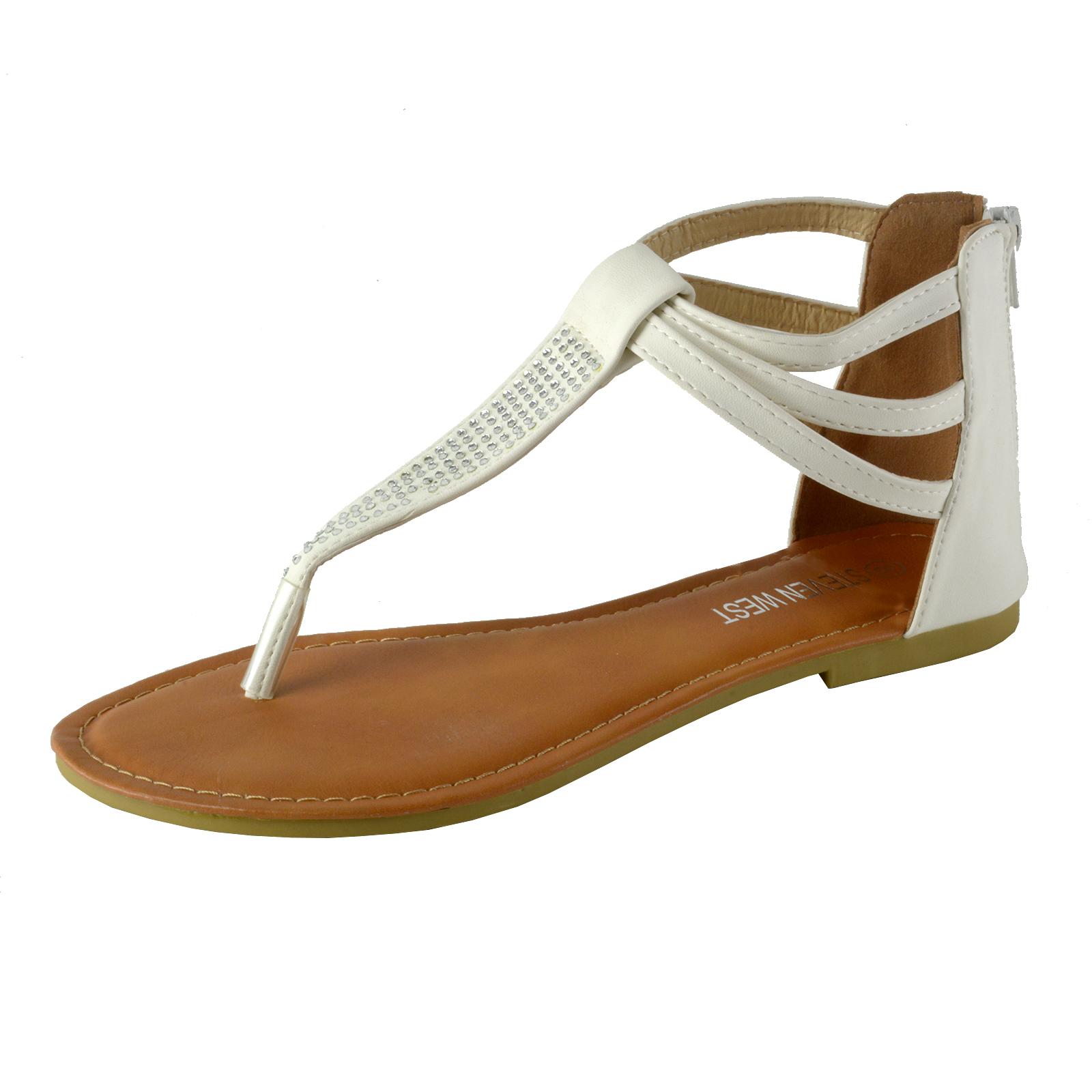 Women S Rhinestone T Strap Thong Ankle Strap Back Zip