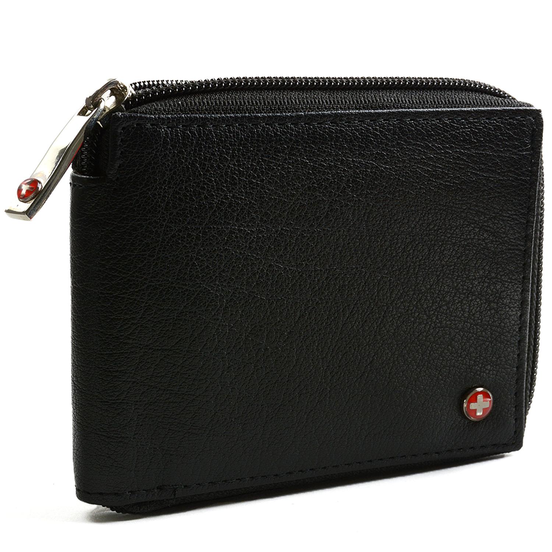 Alpine Swiss RFID Blocking Mens Leather Wallet Zip Around ID Card Window Bifold | eBay