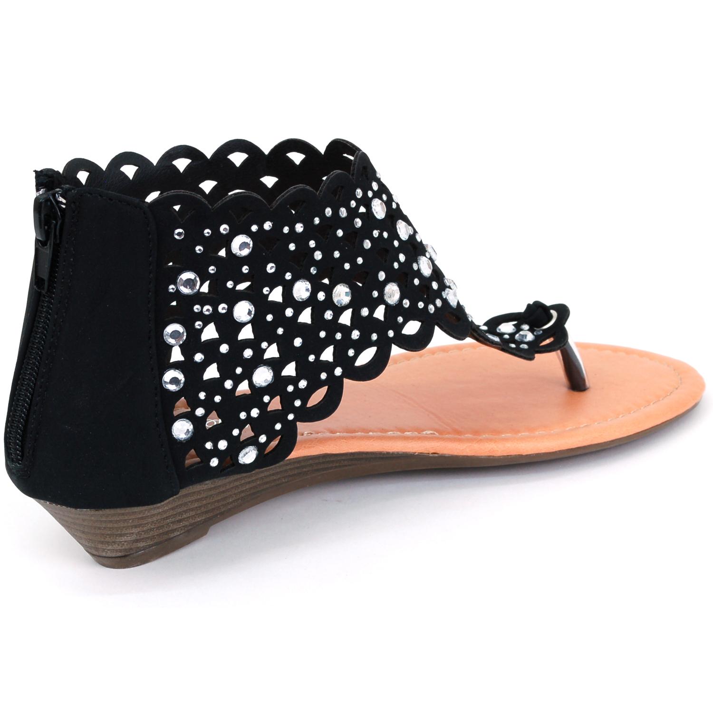 Womens Gladiator Sandals Wedge Heel Thongs Dressy Ankle ...