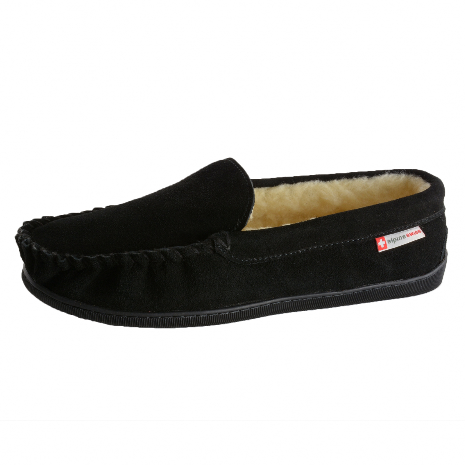 Alpine Swiss Sabine Womens Suede Shearling Moccasin Slippers House Shoes Slip