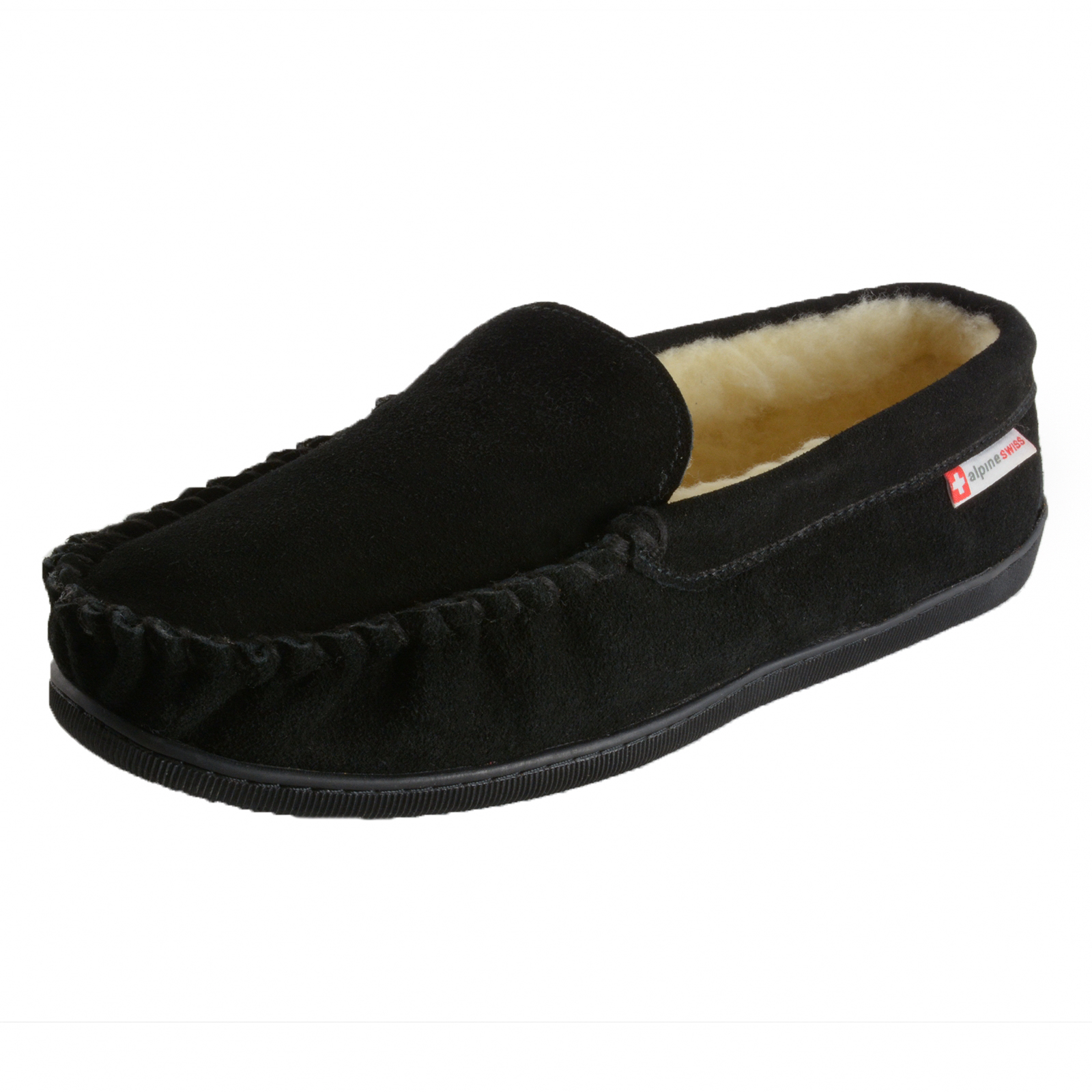 Alpine Swiss Sabine Womens Suede Shearling Moccasin ...