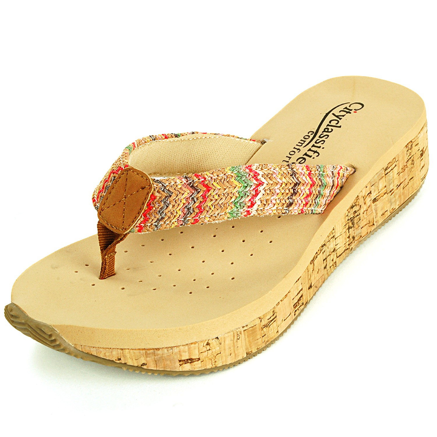 Womens Sandals Wedge Heel Cork Mule Padded Comfort Open ...