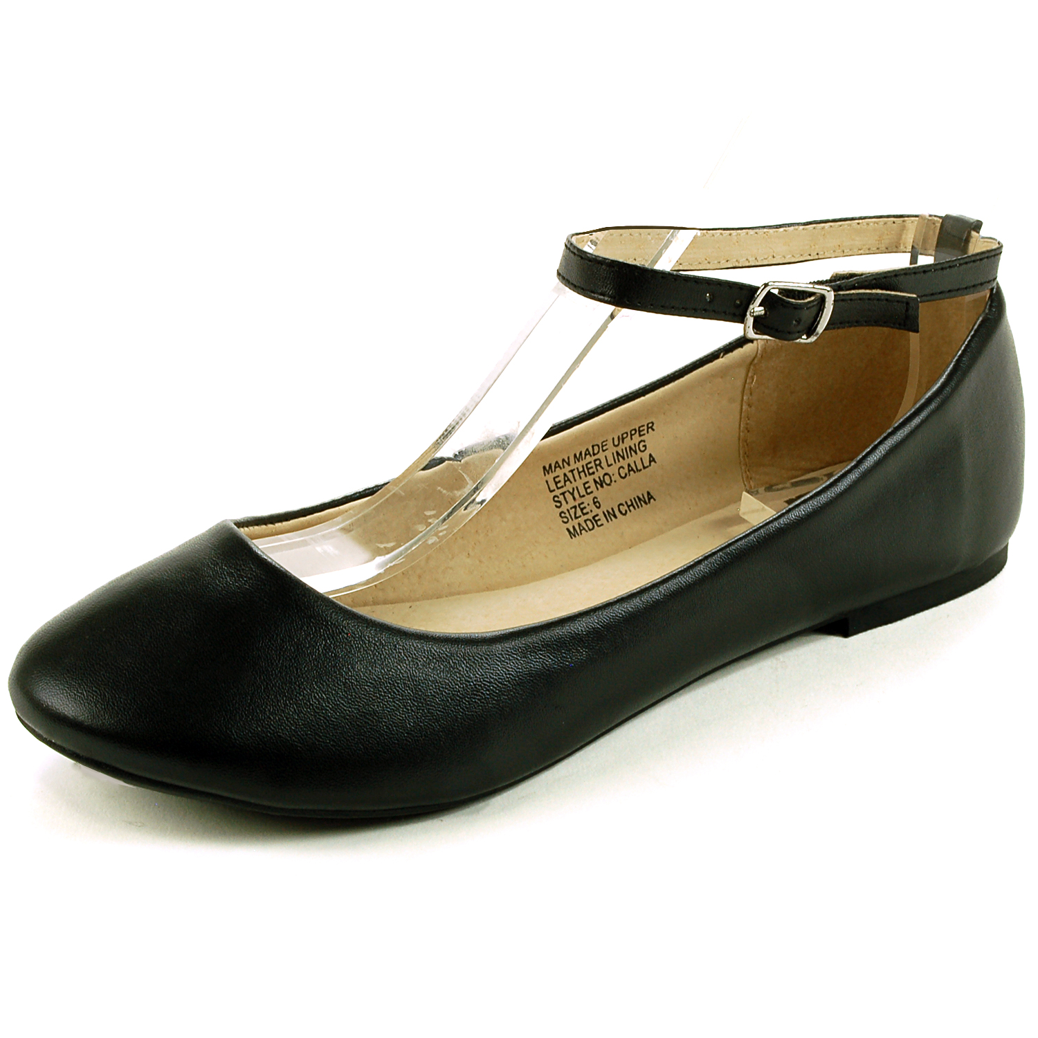 Black Flat Shoes With Ankle Strap