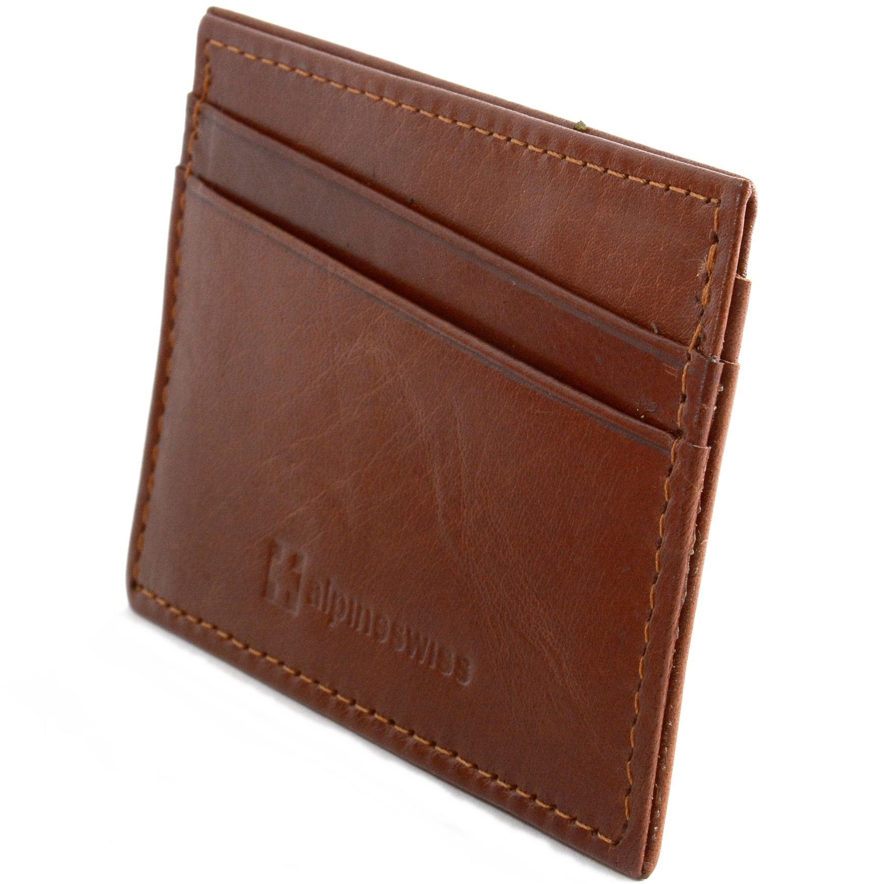 Alpine-Swiss-Minimalist-Leather-Front-Pocket-Wallet-5-Card-Slots-Slim-Thin-Case thumbnail 29