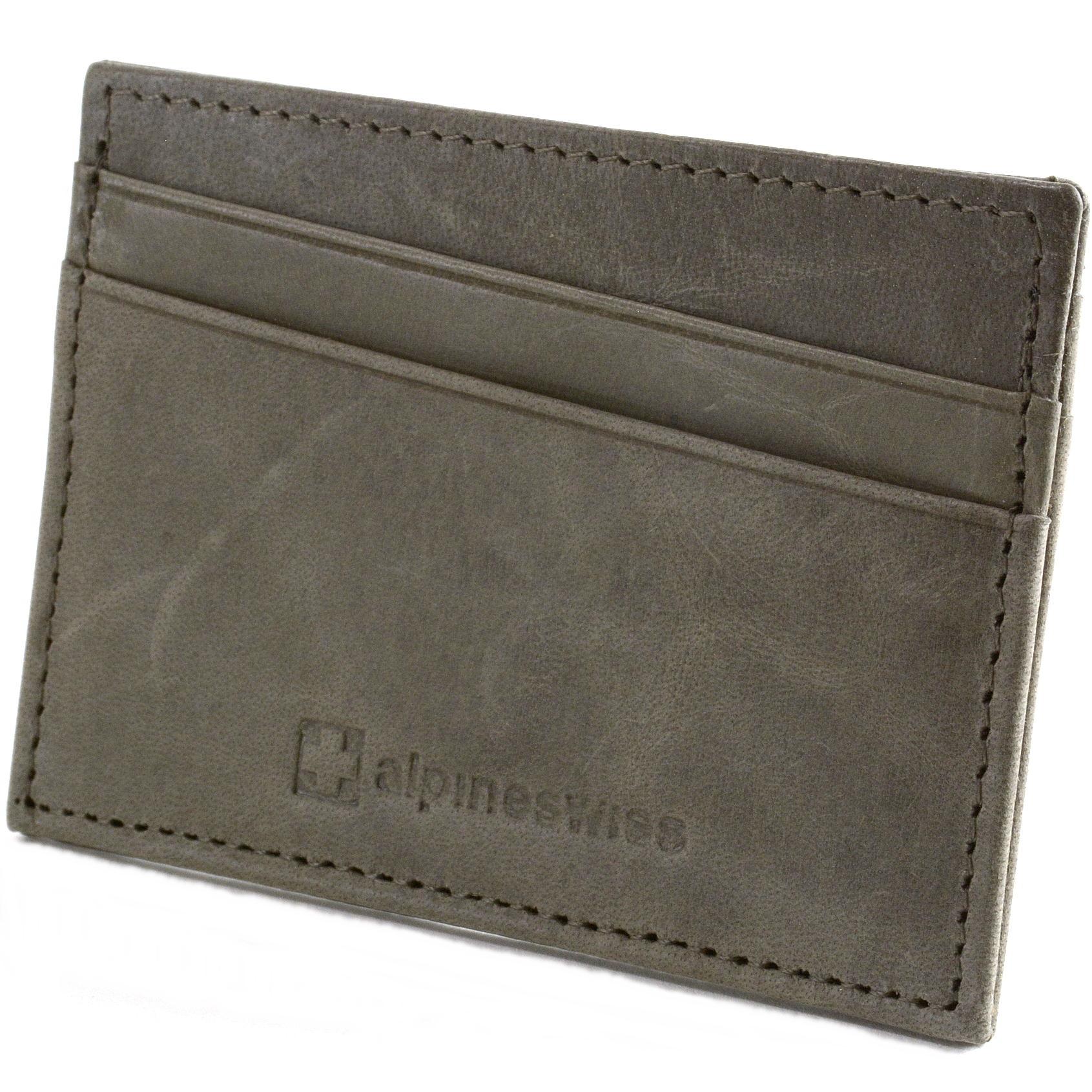 Alpine Swiss Minimalist Leather Front Pocket Wallet 5 Card