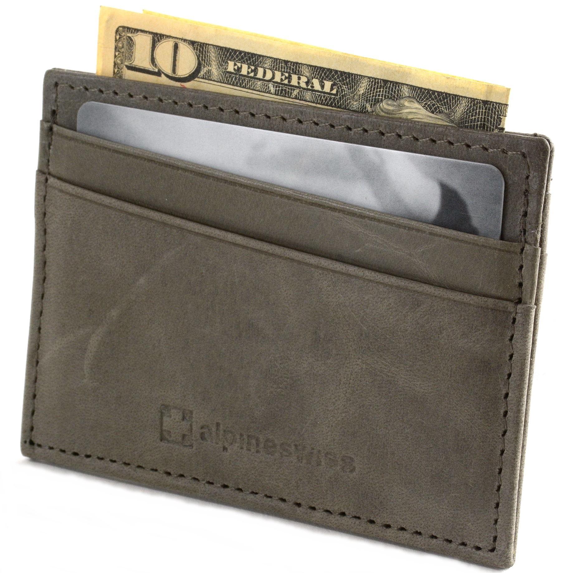 Alpine-Swiss-Minimalist-Leather-Front-Pocket-Wallet-5-Card-Slots-Slim-Thin-Case thumbnail 59