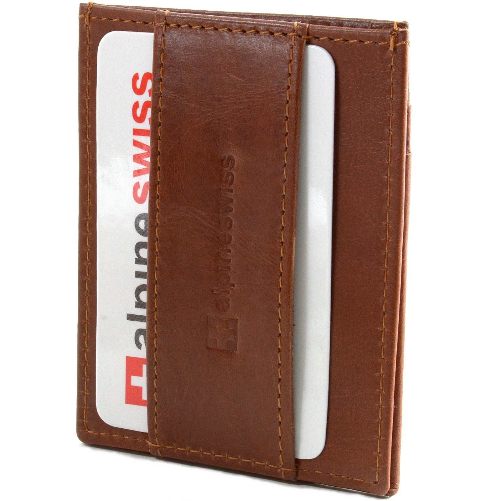 Alpine-Swiss-Mens-Minimalist-Front-Pocket-Wallet-Card-Case-Cash-Strap-Money-Clip
