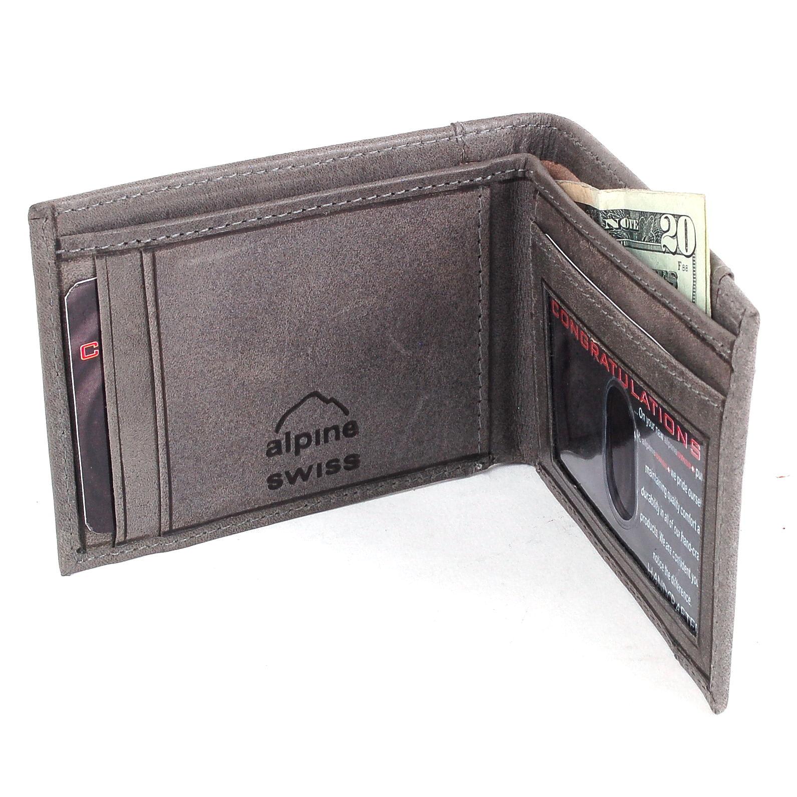 Alpine-Swiss-Mens-Thin-Bifold-Wallet-Top-Grain-Leather-EZ-Access-Outer-Card-Slot thumbnail 69