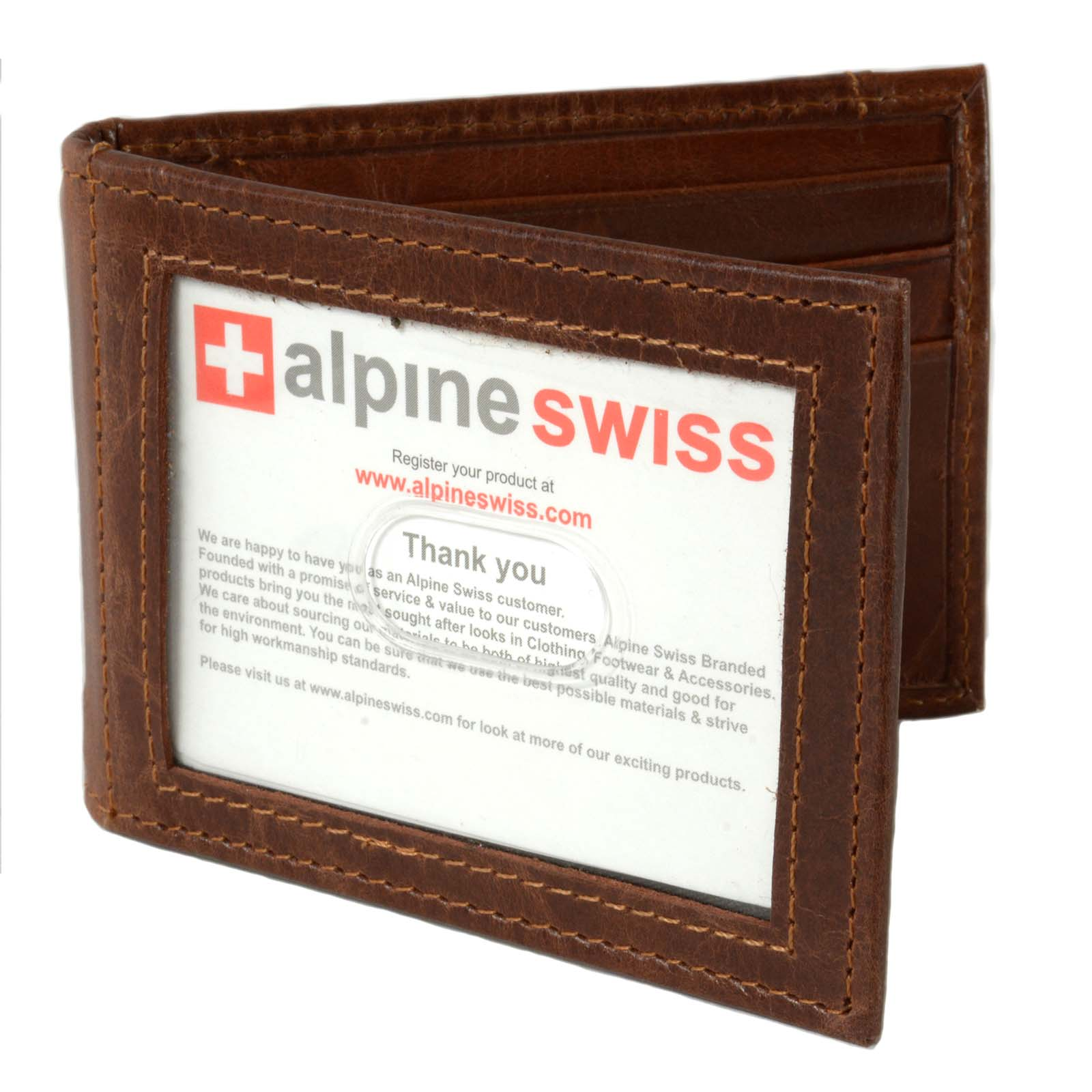 Alpine-Swiss-Mens-Bifold-Money-Clip-Spring-Loaded-Leather-ID-Front-Pocket-Wallet thumbnail 26