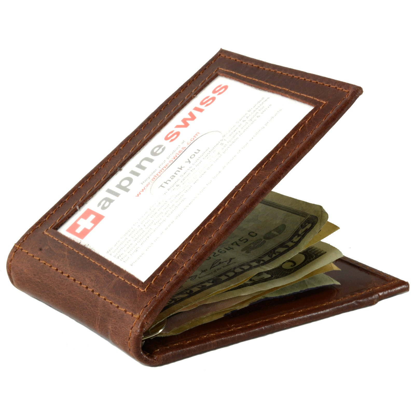 Alpine-Swiss-Mens-Bifold-Money-Clip-Spring-Loaded-Leather-ID-Front-Pocket-Wallet thumbnail 28