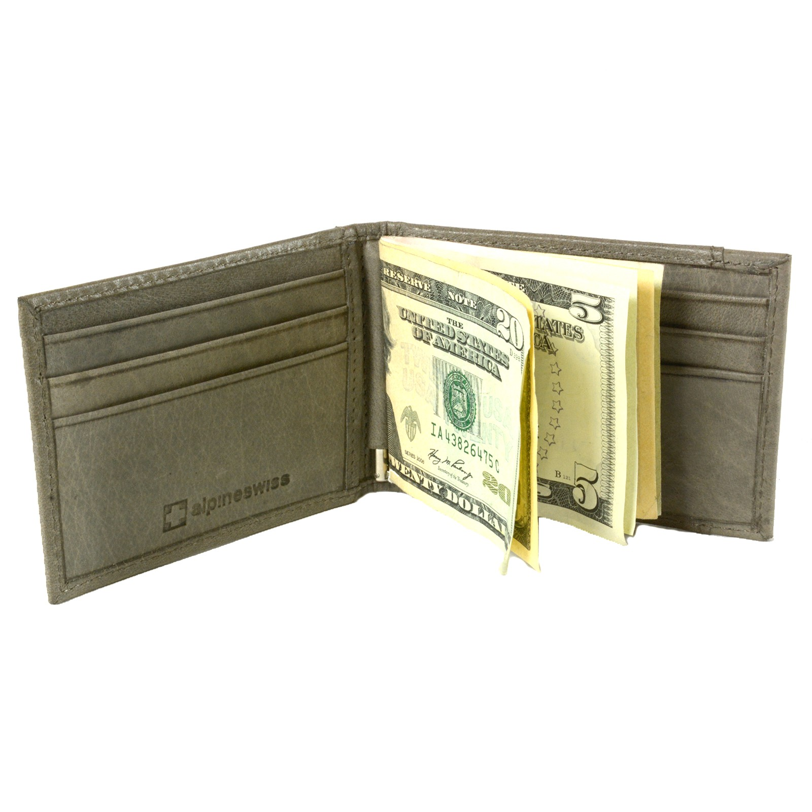 Alpine-Swiss-Mens-Bifold-Money-Clip-Spring-Loaded-Leather-ID-Front-Pocket-Wallet thumbnail 77
