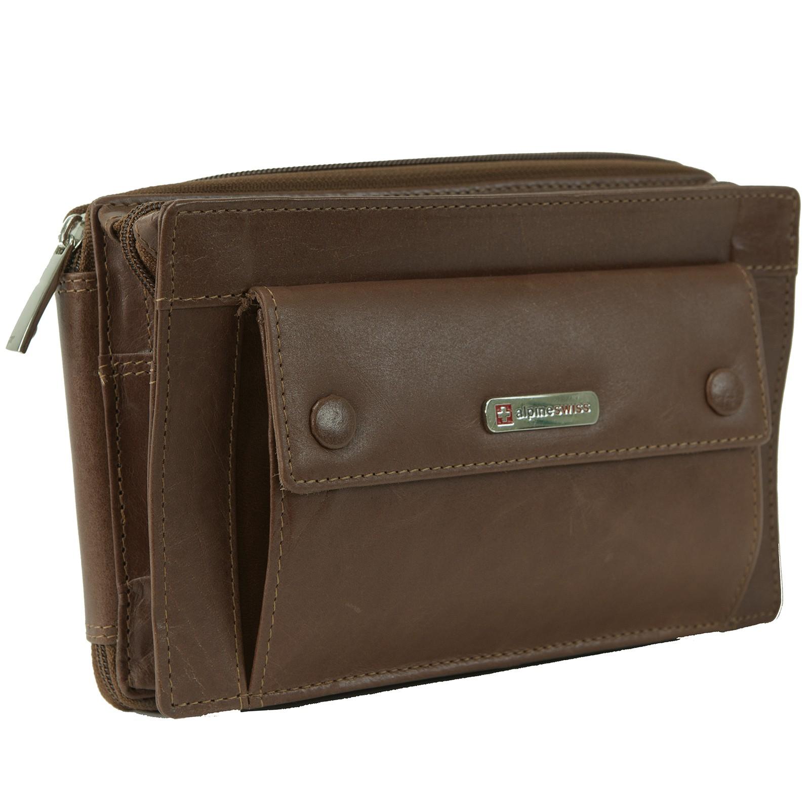 4ee2b78c8053 Alpine Swiss Men's RFID Blocking Leather Clutch Bag Travel Case Wallet  Organizer
