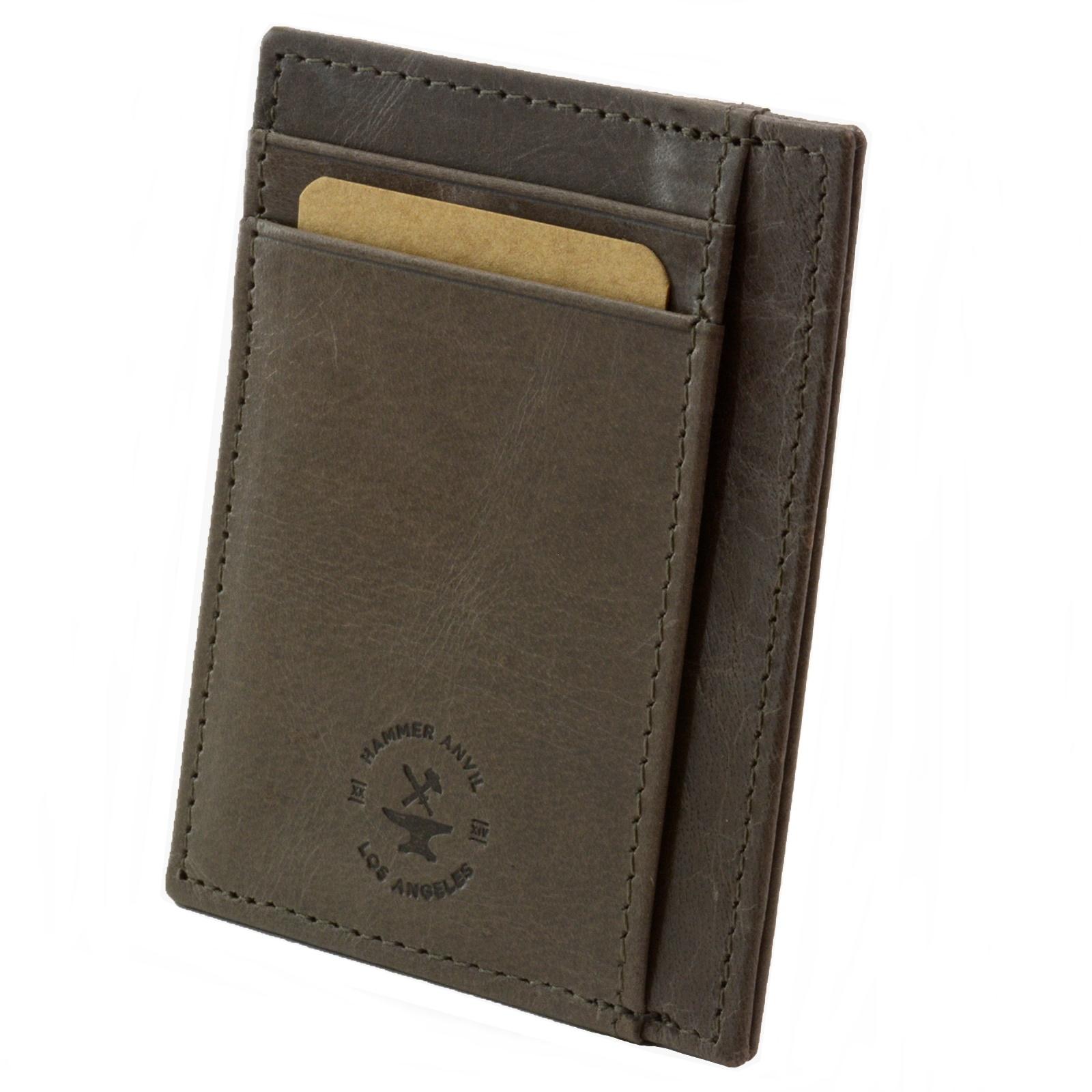 miniature 62 - Hammer-Anvil-Minimalist-Front-Pocket-Wallet-RFID-Blocking-Thin-Leather-Card-Case
