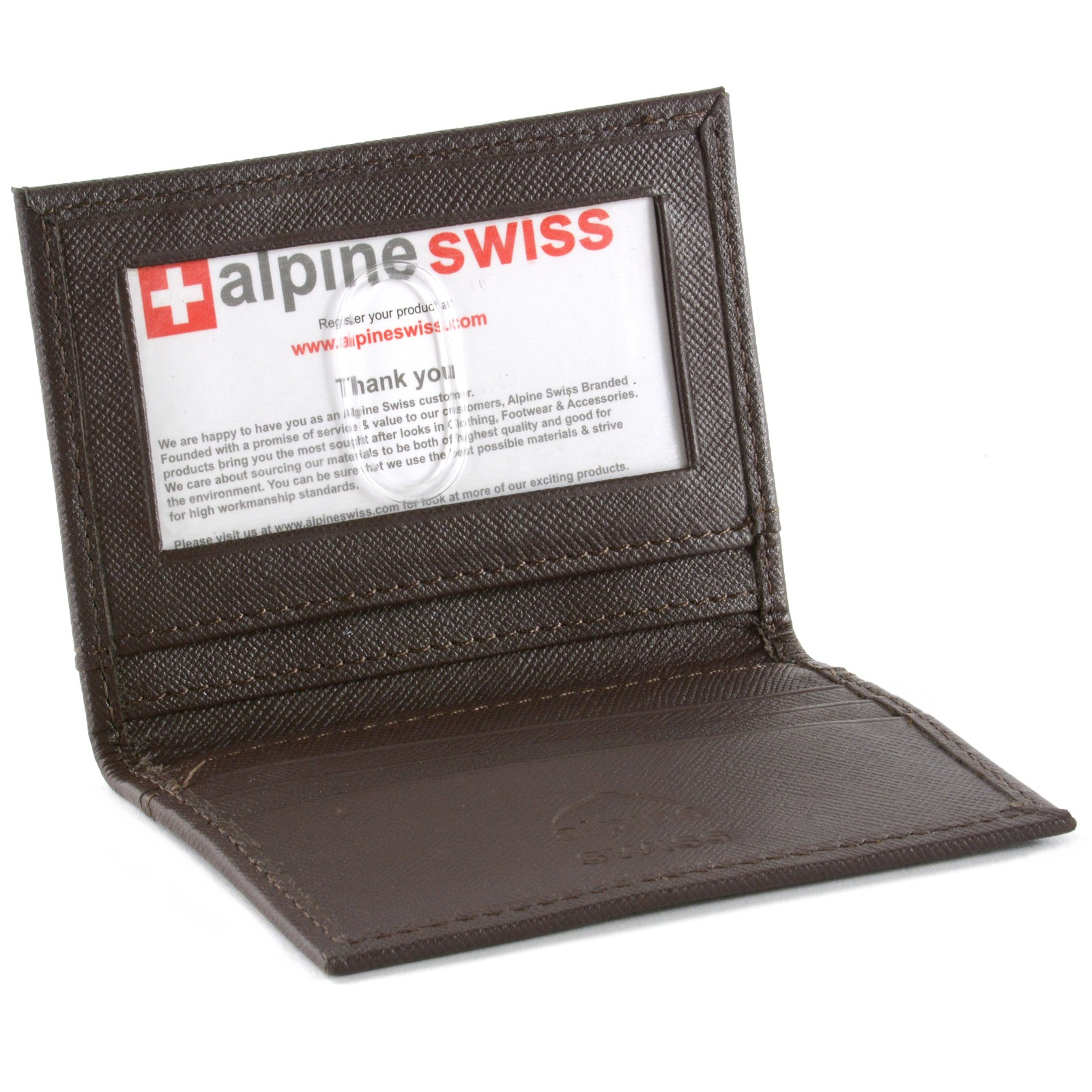 alpine swiss thin front pocket wallet business card case 2 id