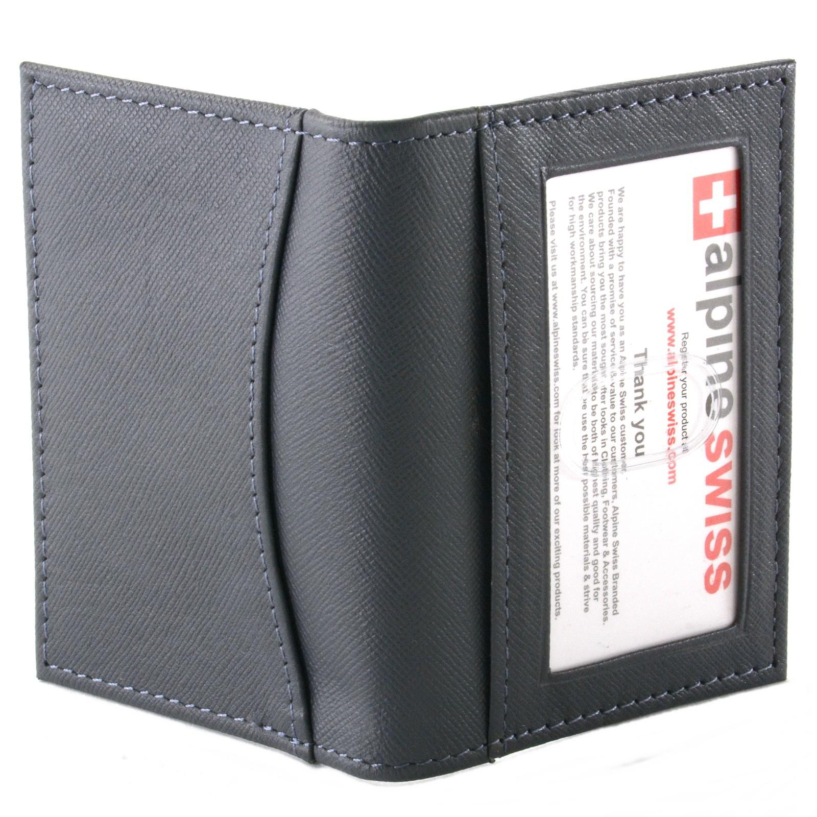 Alpine Swiss Thin Front Pocket Wallet Business Card Case 2 ID Window ...