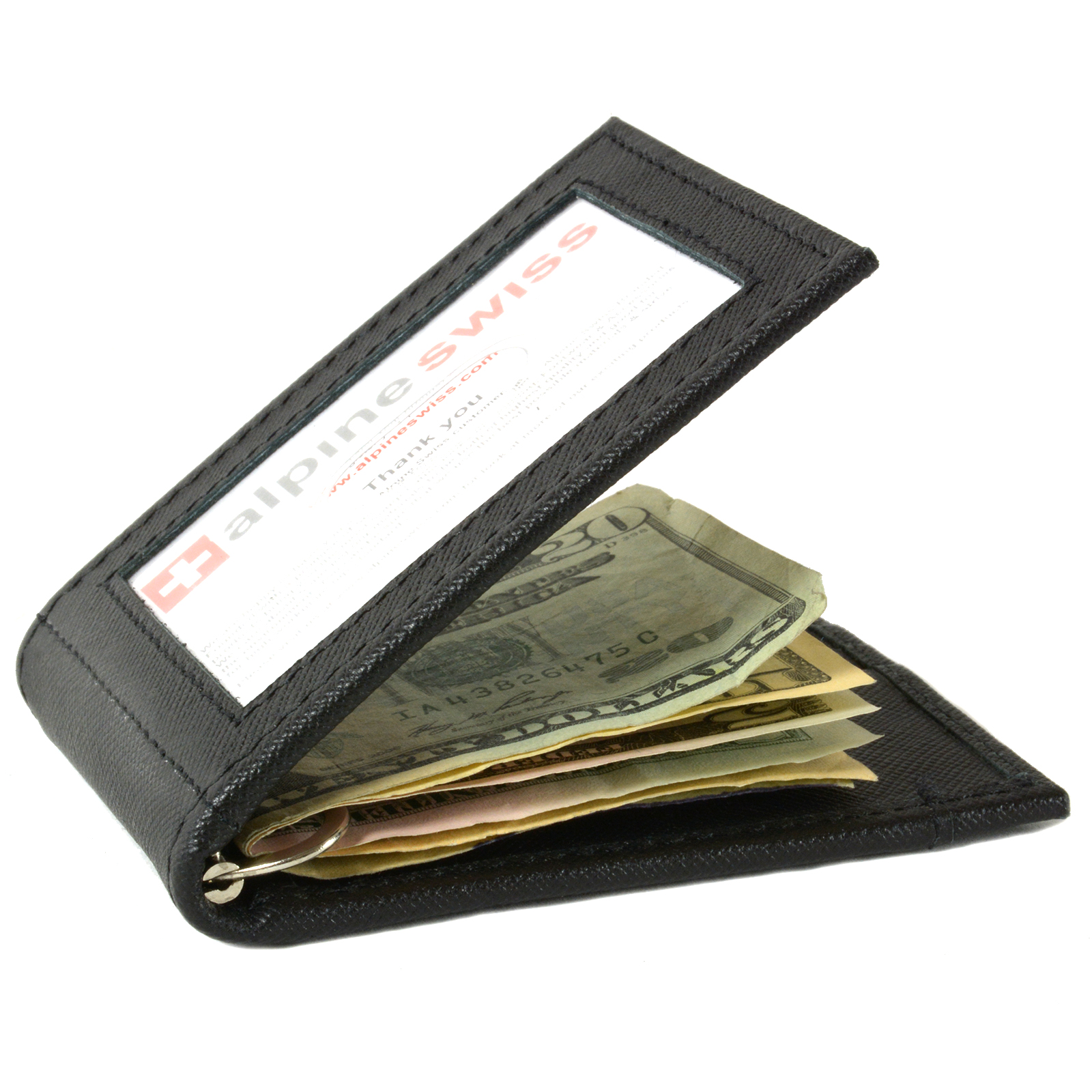 Alpine-Swiss-Mens-Bifold-Money-Clip-Spring-Loaded-Leather-ID-Front-Pocket-Wallet thumbnail 37