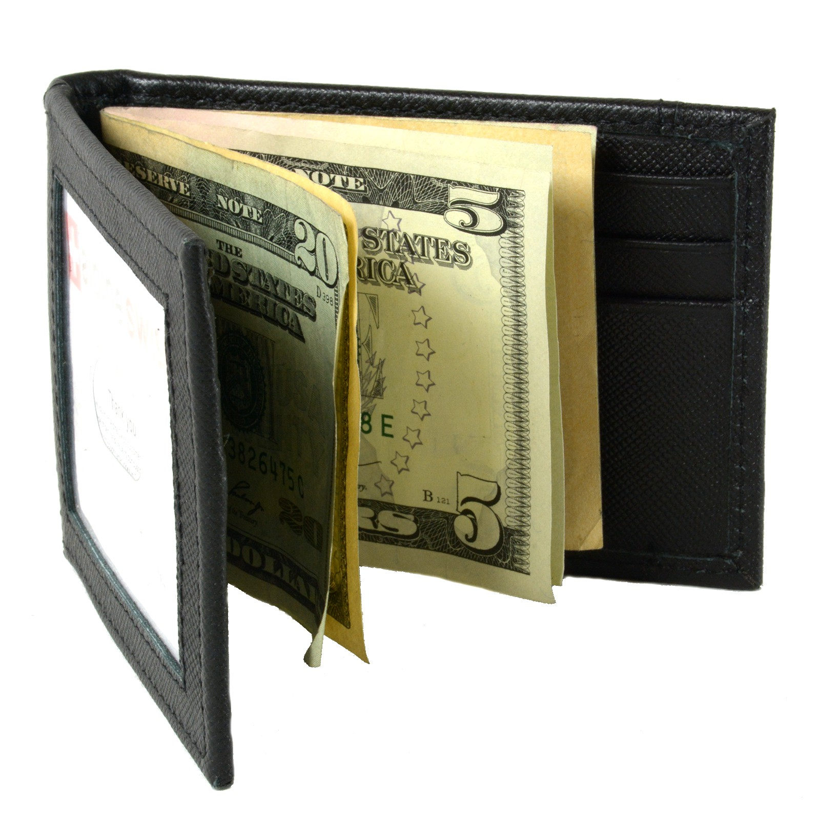 Alpine-Swiss-Mens-Bifold-Money-Clip-Spring-Loaded-Leather-ID-Front-Pocket-Wallet thumbnail 41