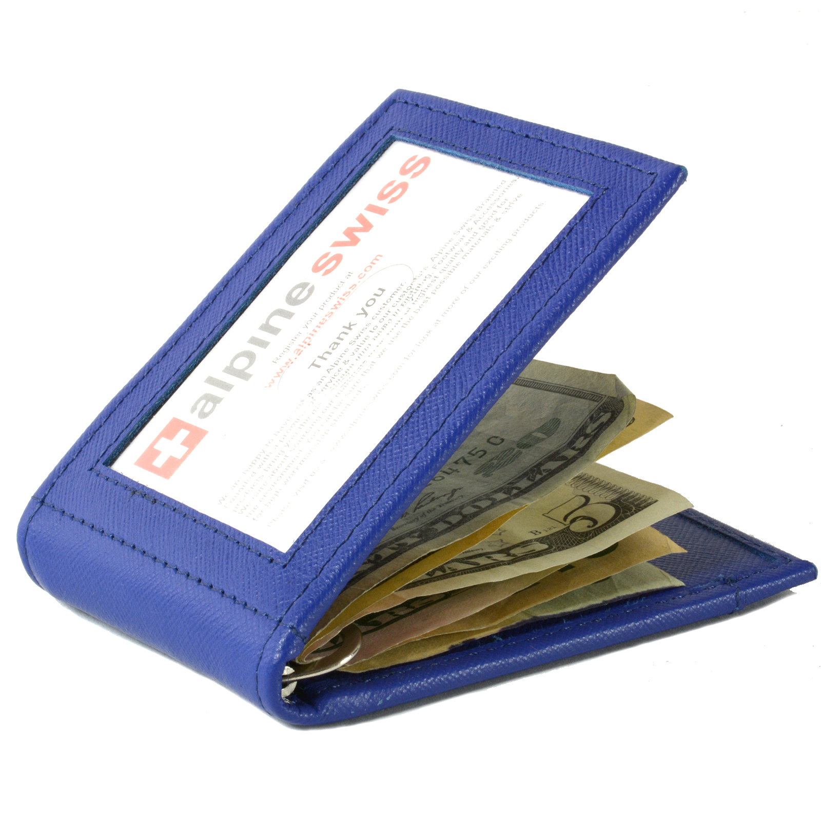 Alpine-Swiss-Mens-Bifold-Money-Clip-Spring-Loaded-Leather-ID-Front-Pocket-Wallet thumbnail 49