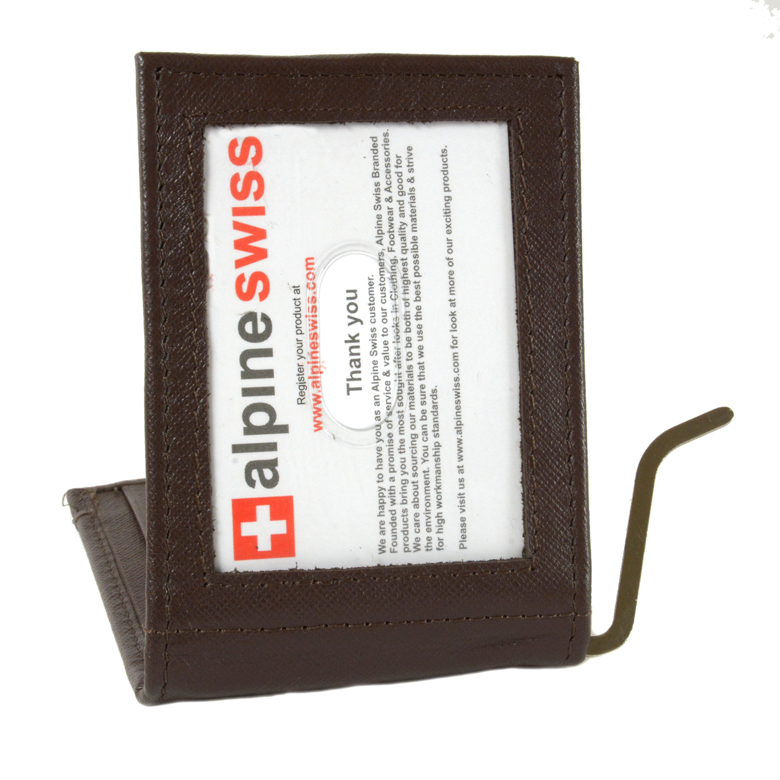 Alpine-Swiss-Mens-Bifold-Money-Clip-Spring-Loaded-Leather-ID-Front-Pocket-Wallet thumbnail 59