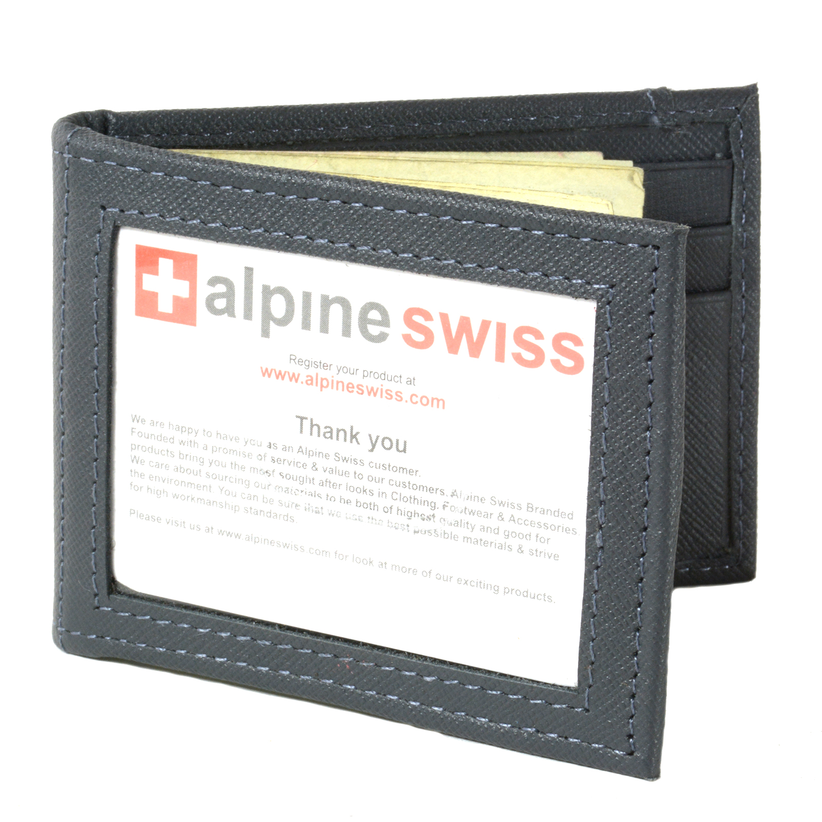 Alpine-Swiss-Mens-Bifold-Money-Clip-Spring-Loaded-Leather-ID-Front-Pocket-Wallet thumbnail 65