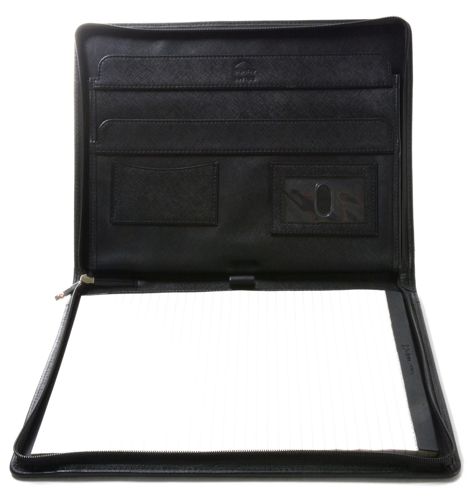 thumbnail 29 - Alpine Swiss Leather Zippered Writing Pad Portfolio Business Briefcase Organizer
