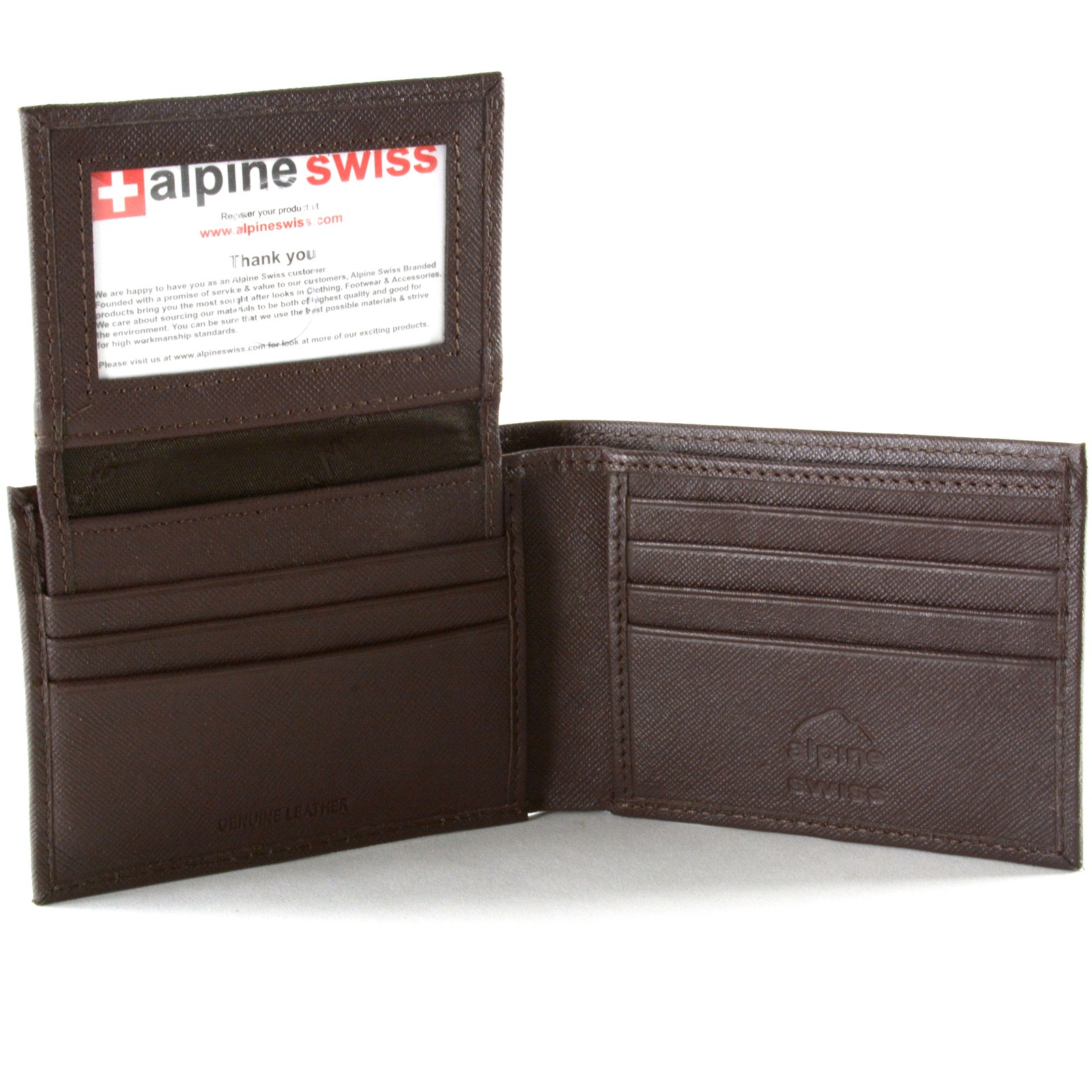 Alpine Swiss Mens Wallet Genuine Leather Removable Id Card Case