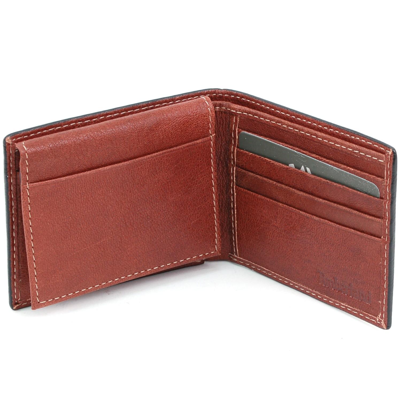 Timberland Mens Wallet Bifold Passcase Genuine Leather 2 ID Windows Billfold NEW | eBay