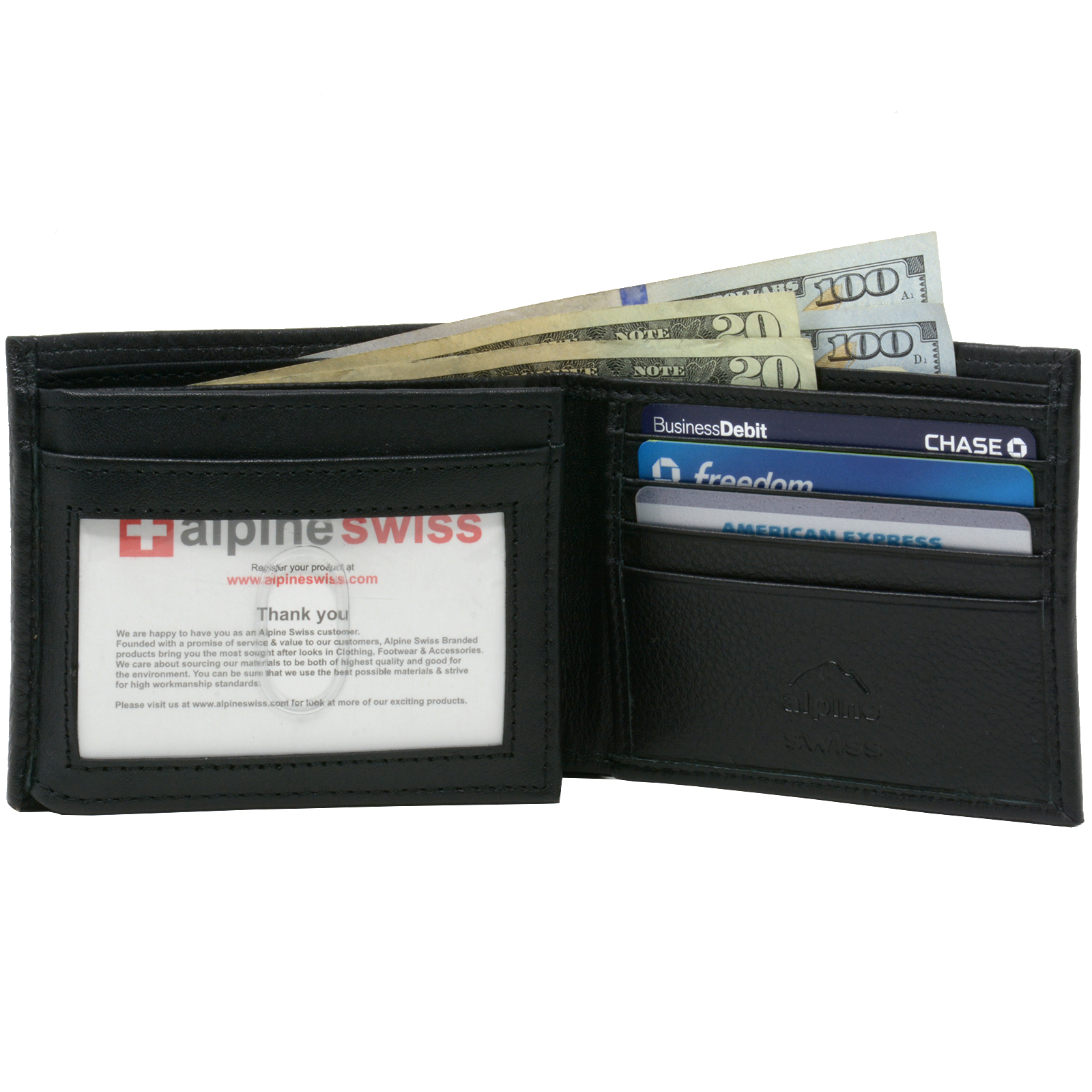 Alpine-Swiss-Mens-Wallet-Genuine-Leather-Divided-Bill-Section-Flipout-ID-Bifold thumbnail 16