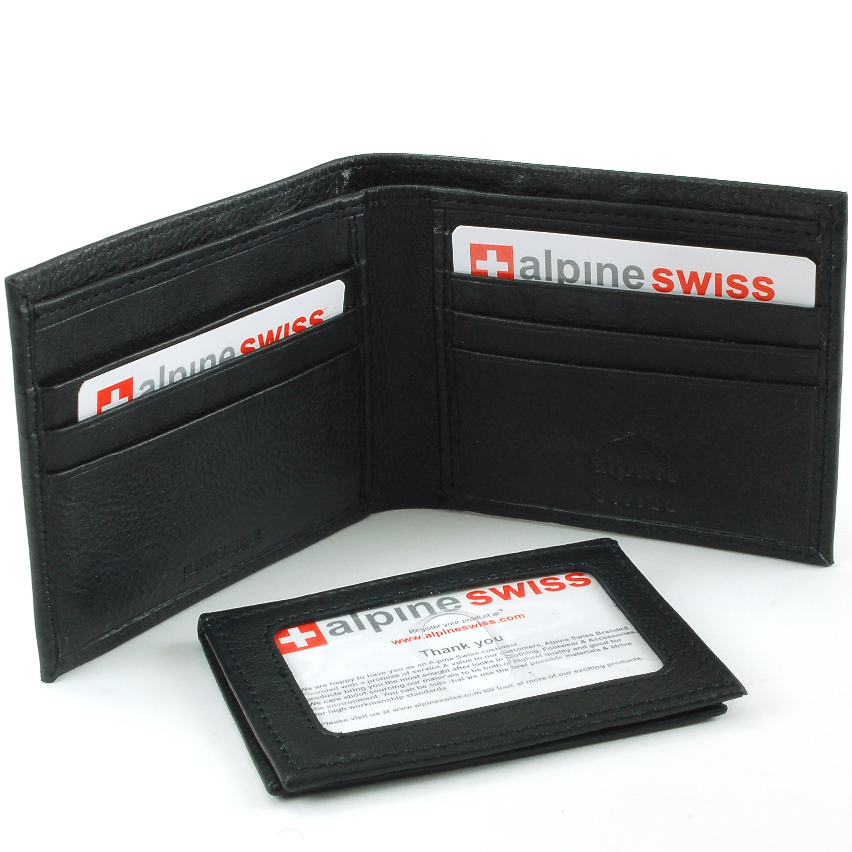 Alpine Swiss Mens Wallet Genuine Leather Removable ID Card ...
