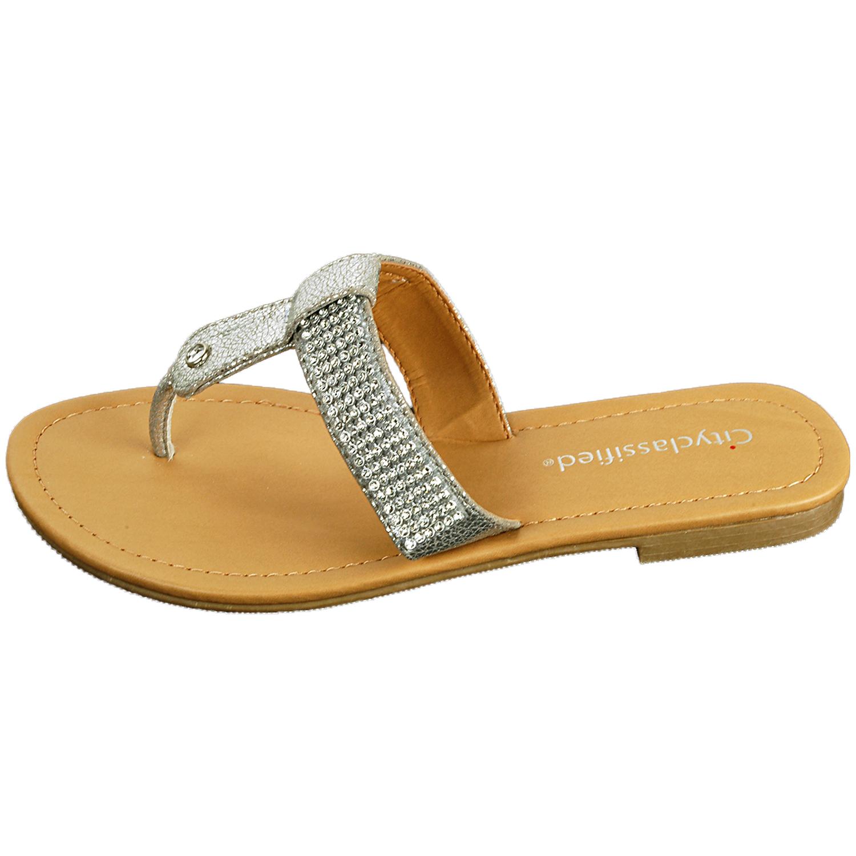 Women S Rhinestone Sandals T Strap Thongs Slip On Flats