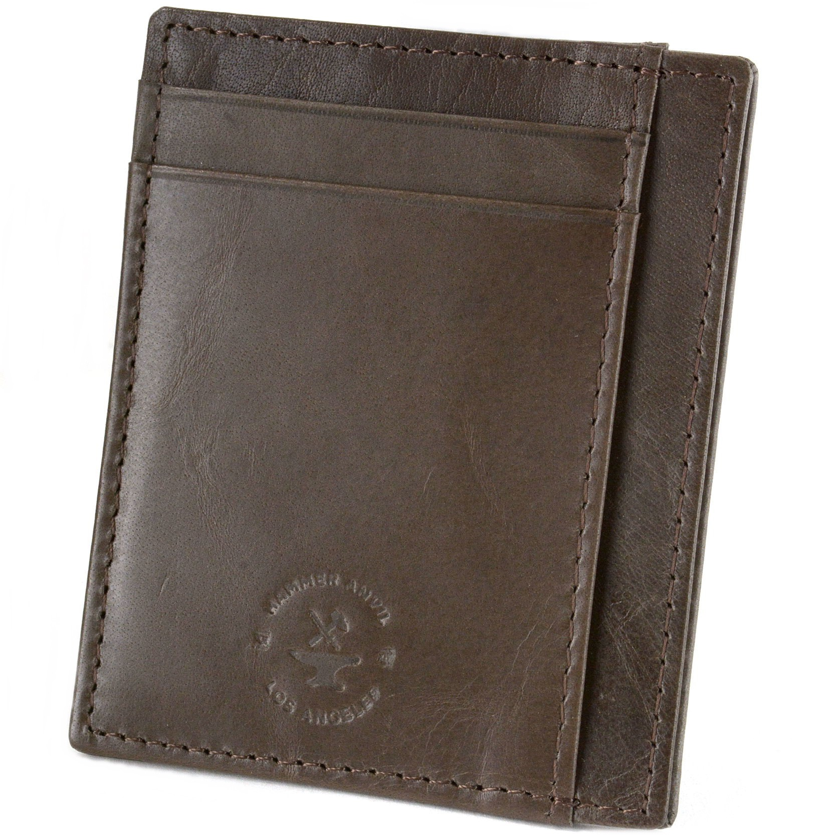 miniature 24 - Hammer-Anvil-Minimalist-Front-Pocket-Wallet-RFID-Blocking-Thin-Leather-Card-Case