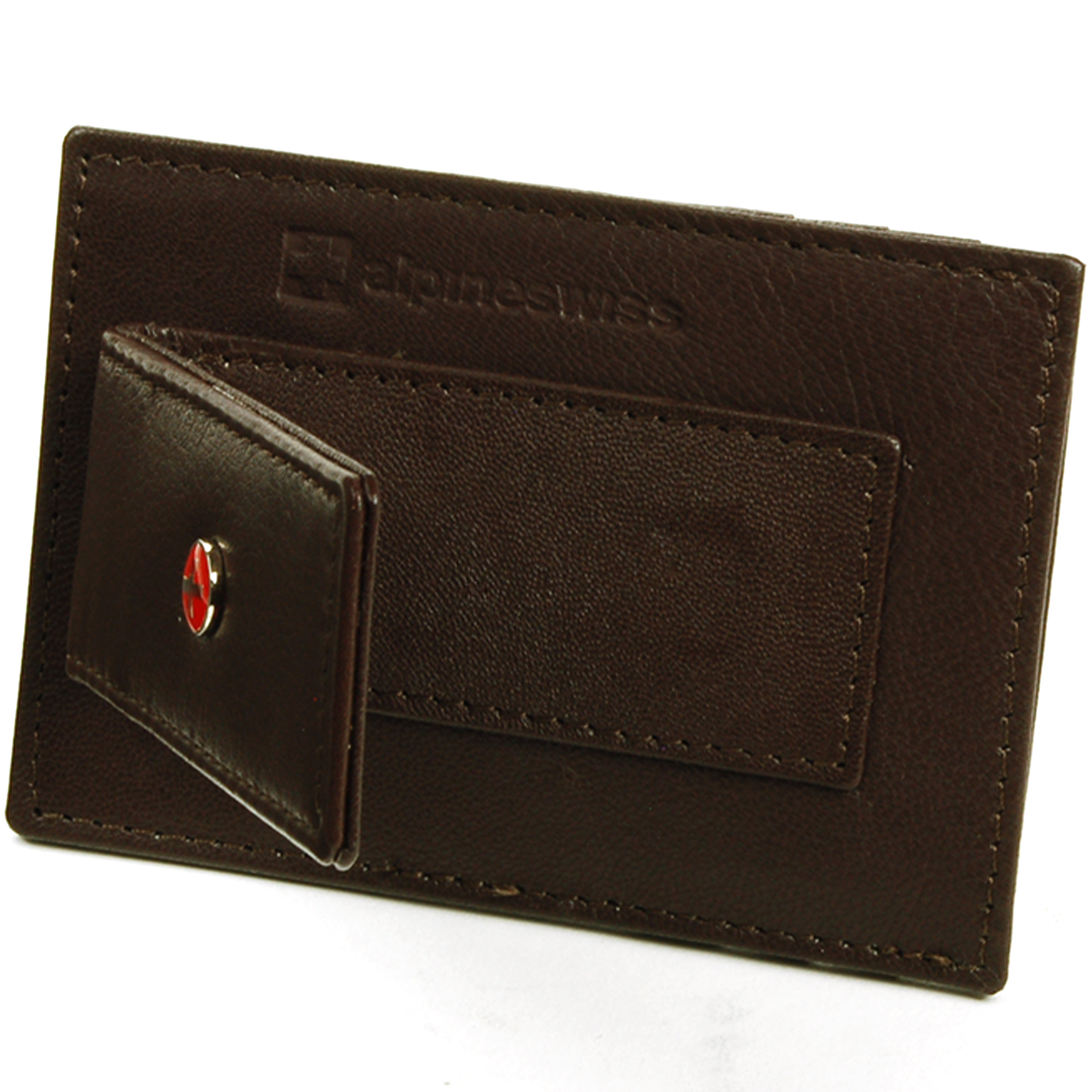f9eeae952 Alpine Swiss Mens Leather Money Clip Wallet Slim Card Case Up to 15 ...