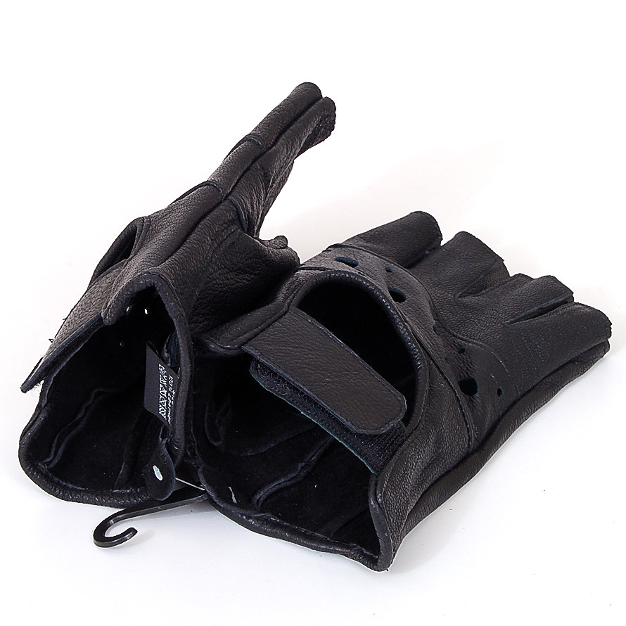 Fingerless Work Out Gloves Durable Leather Mens Womens ...