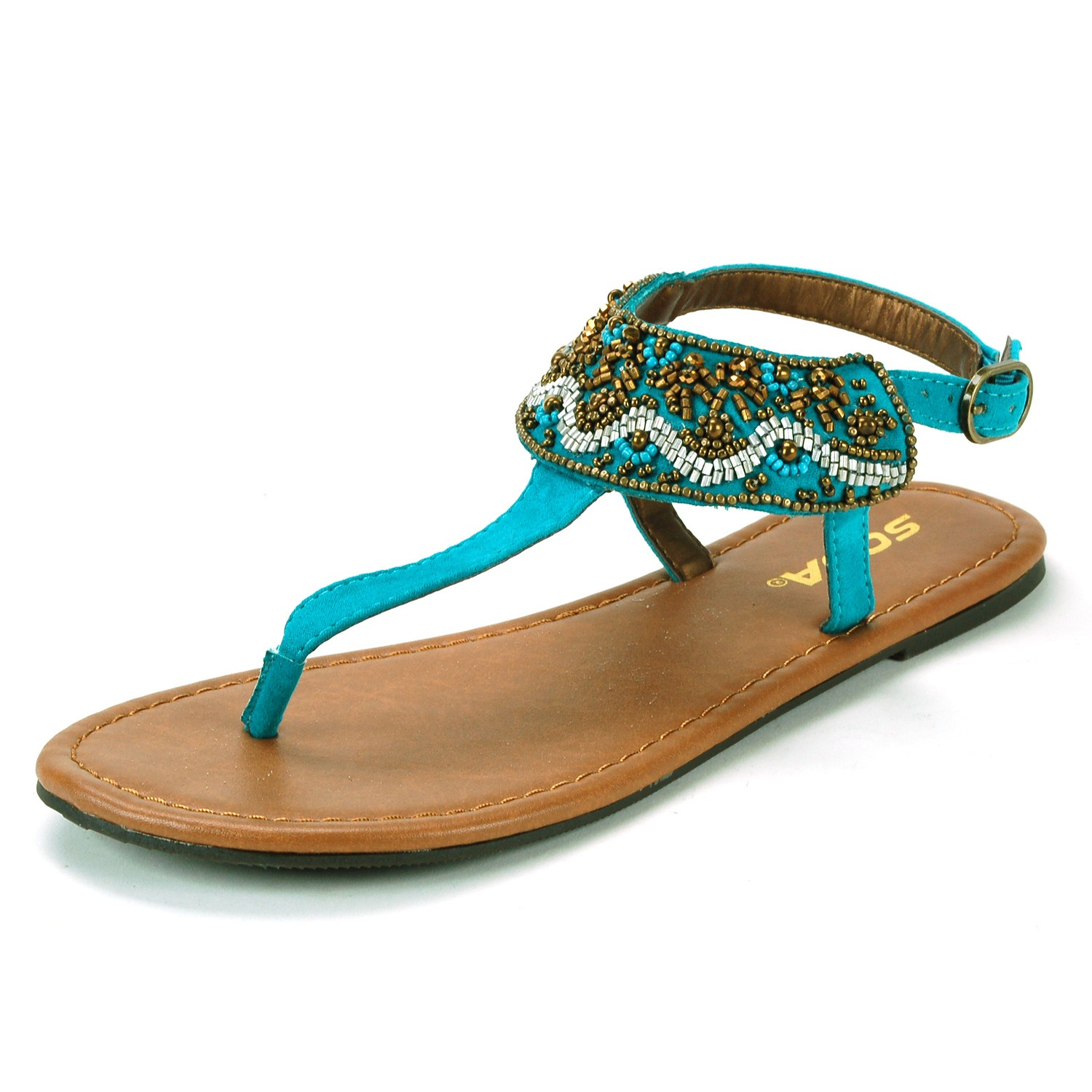 Womens T Strap Sandals Embroidered Dressy Flats Adjustable