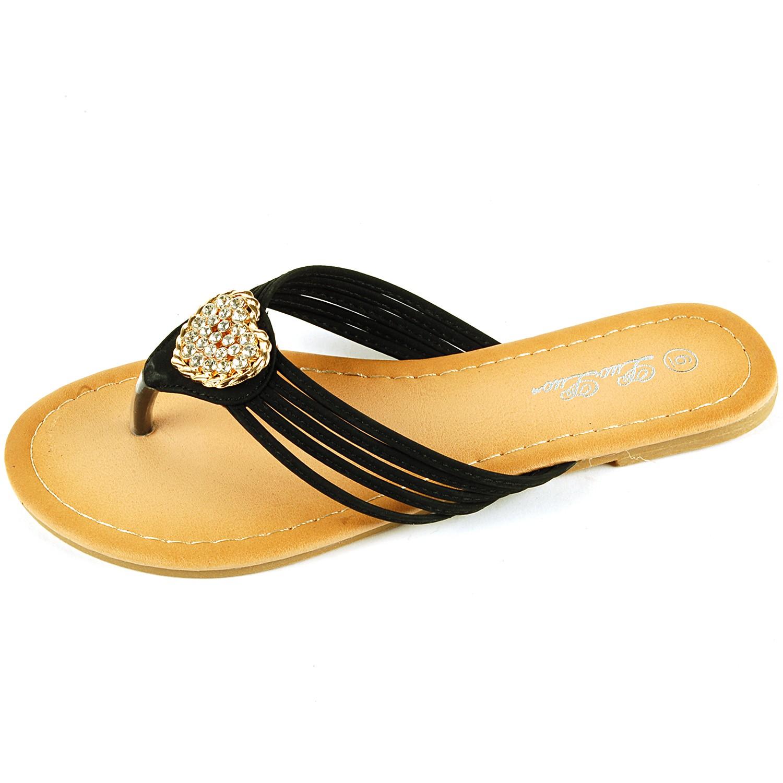 8b003c5a18697 Womens Dressy Flip Flops Gold Rhinestone Strap Sandals Heart Thongs ...