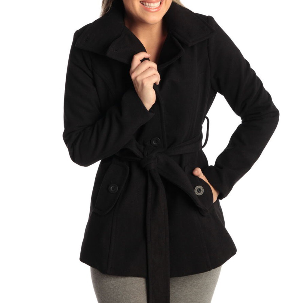Alpine Swiss Bella Women's Belted Blazer Button up Wool Coat ...