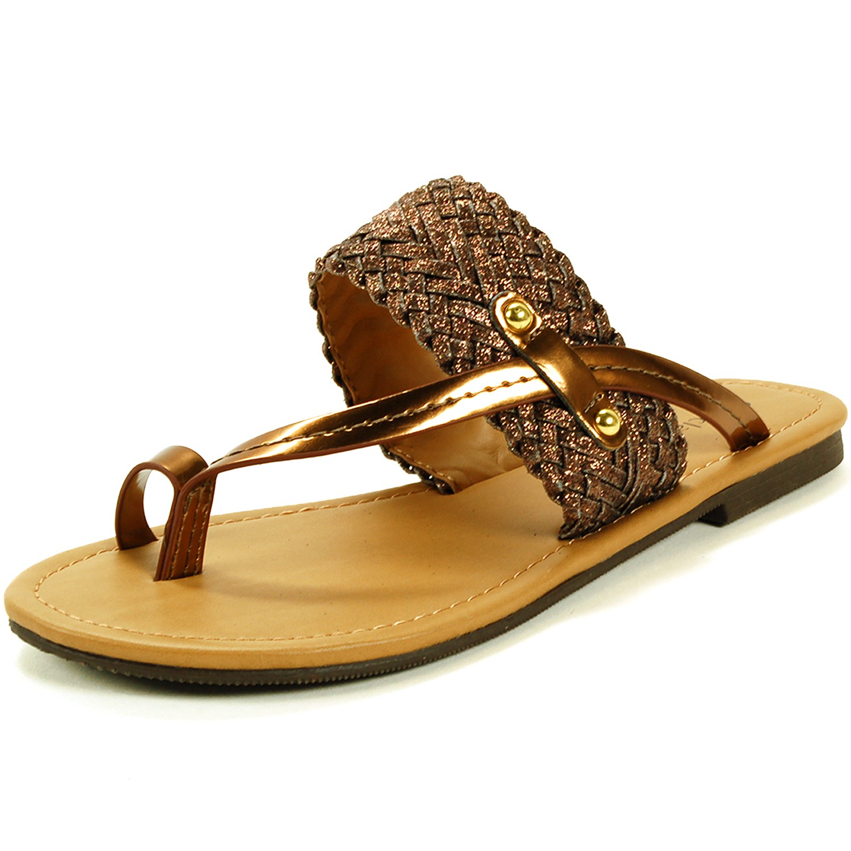 Womens Slip On Sandals Strappy Metallic Flip Flops T Strap
