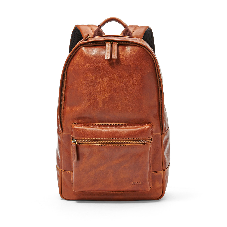 Fossil Estate Leather Laptop Backpack Computer Bookbag School ...