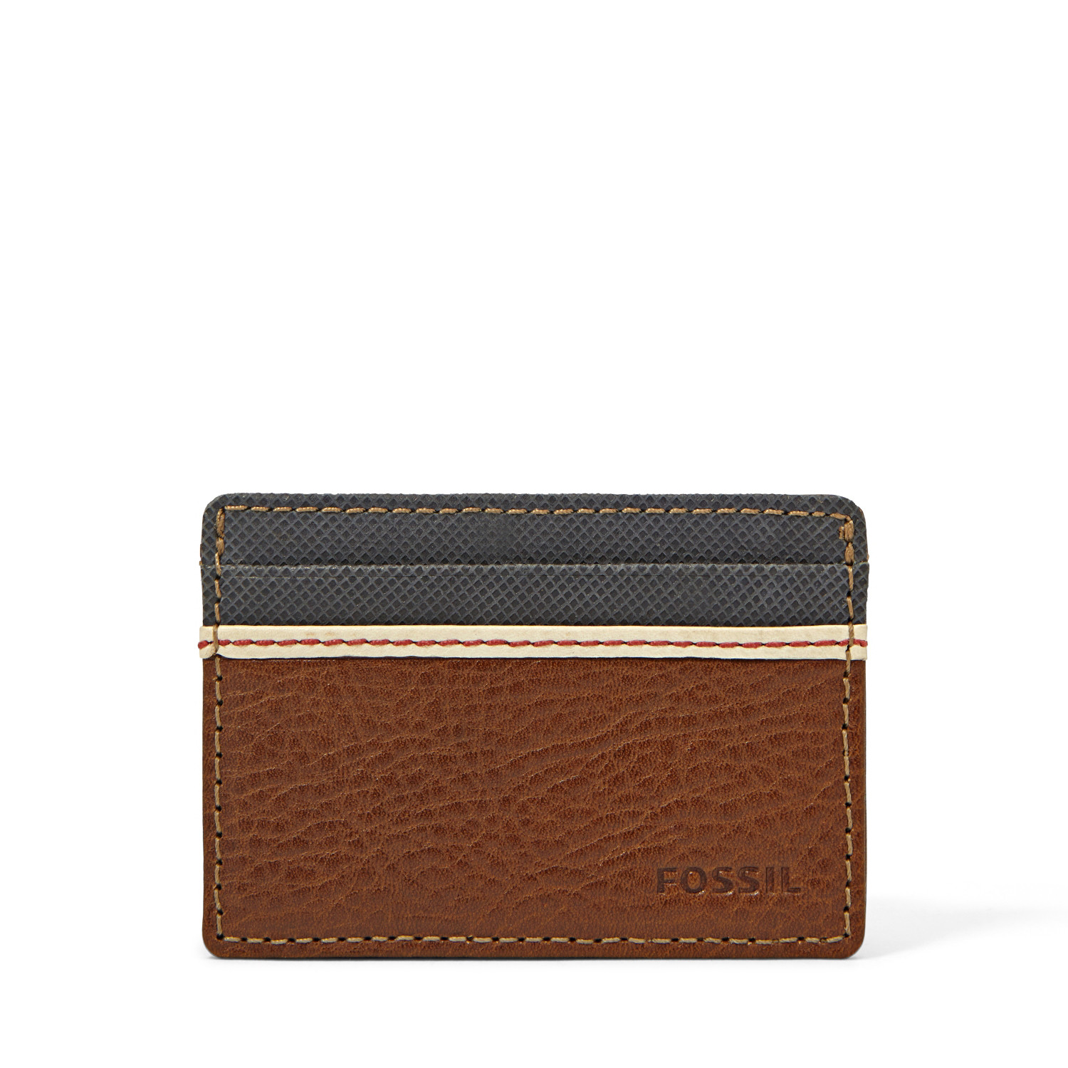 Fossil Elgin Two Tone Leather ID Card Case Front Pocket Wallet Slim ...