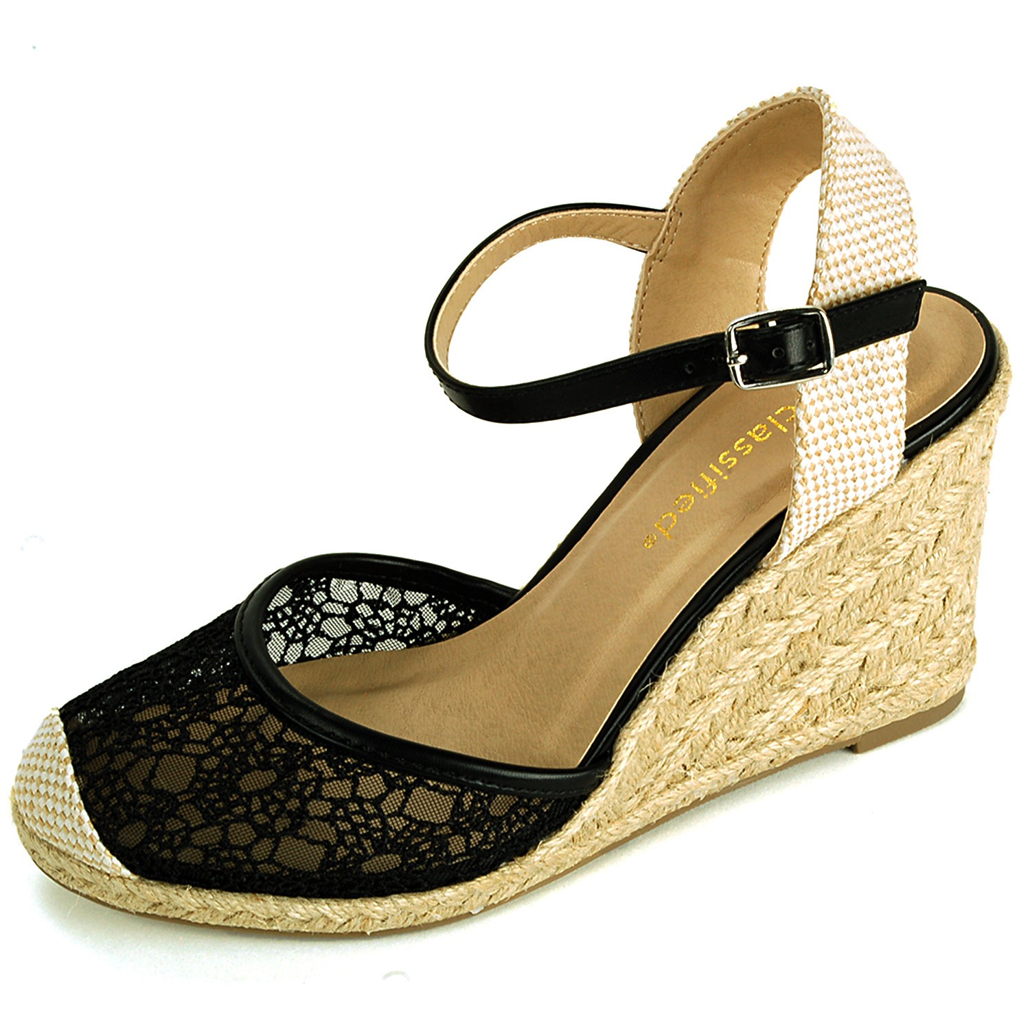 Womens Wedge Heels Platform Shoes Braided Wicker Lace ...
