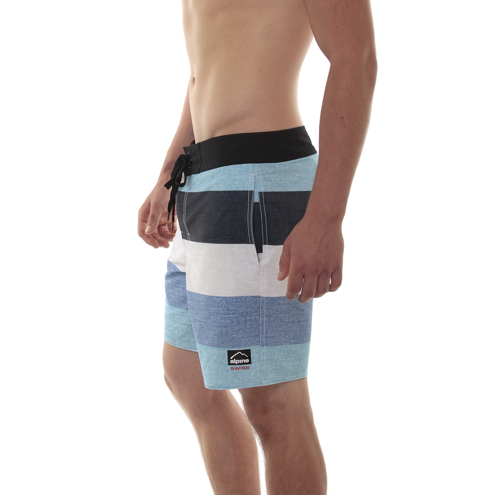 b2c9ca77bbb2 Alpine Swiss Mens Boardshorts Swim Trunks Hybrid Short Side Pockets ...