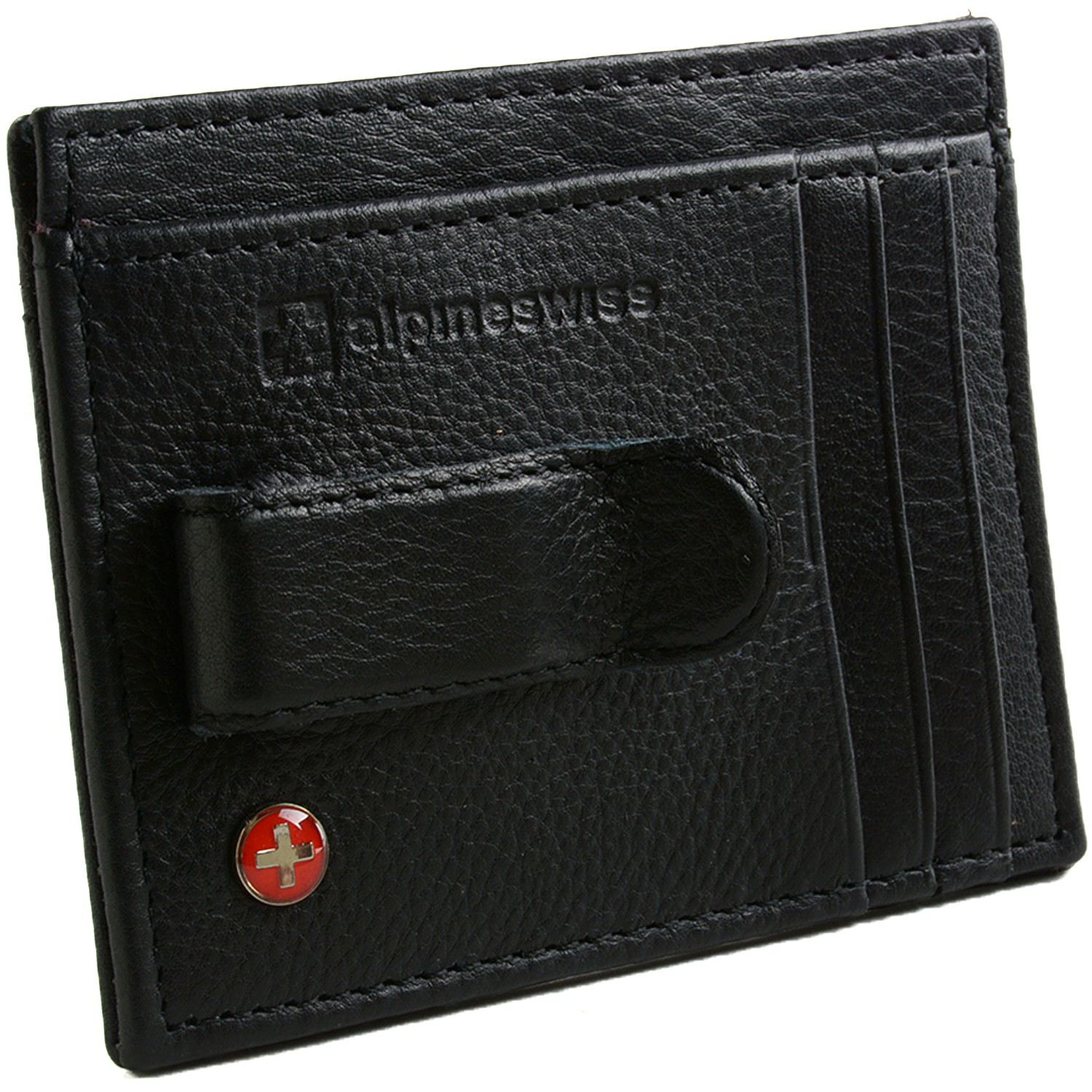 Alpine Swiss Mens Money Clip Genuine Leather Minimalist