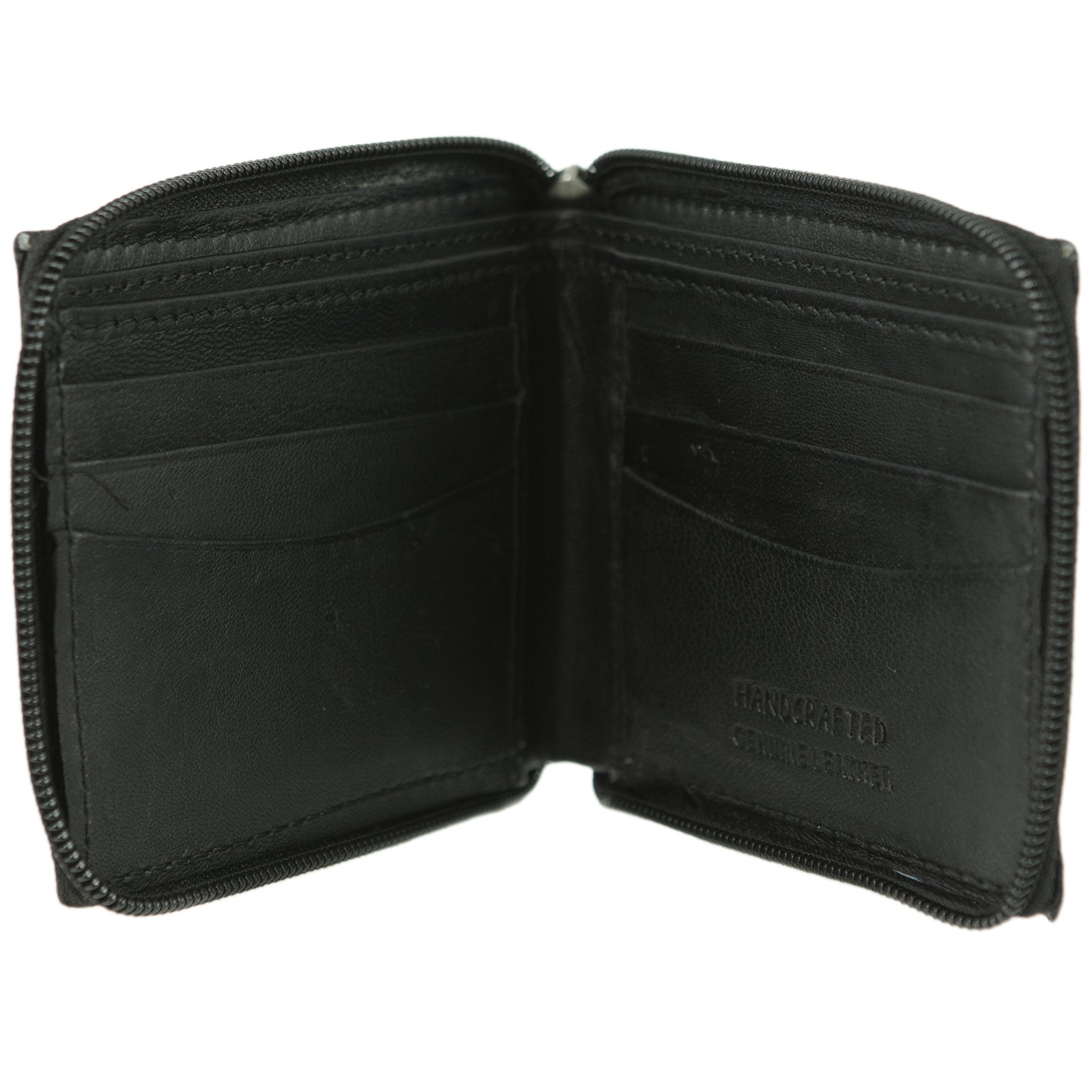 Mens Leather Wallet Bifold Zip Around ID Credit Card Case Billfold Great Value