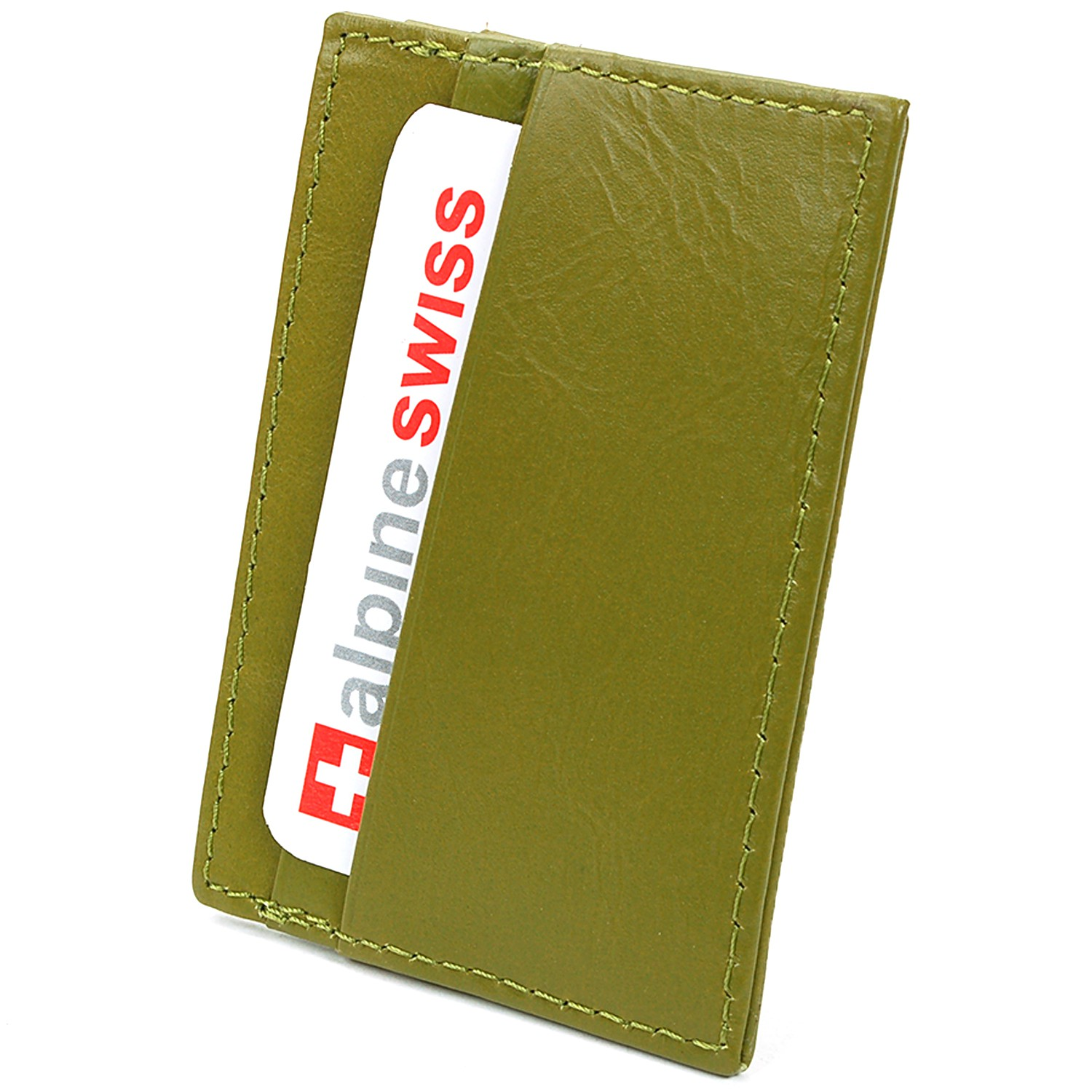 Alpine-Swiss-Super-Slim-Card-Case-Genuine-Leather-ID-Holder-Front-Pocket-Wallet thumbnail 32