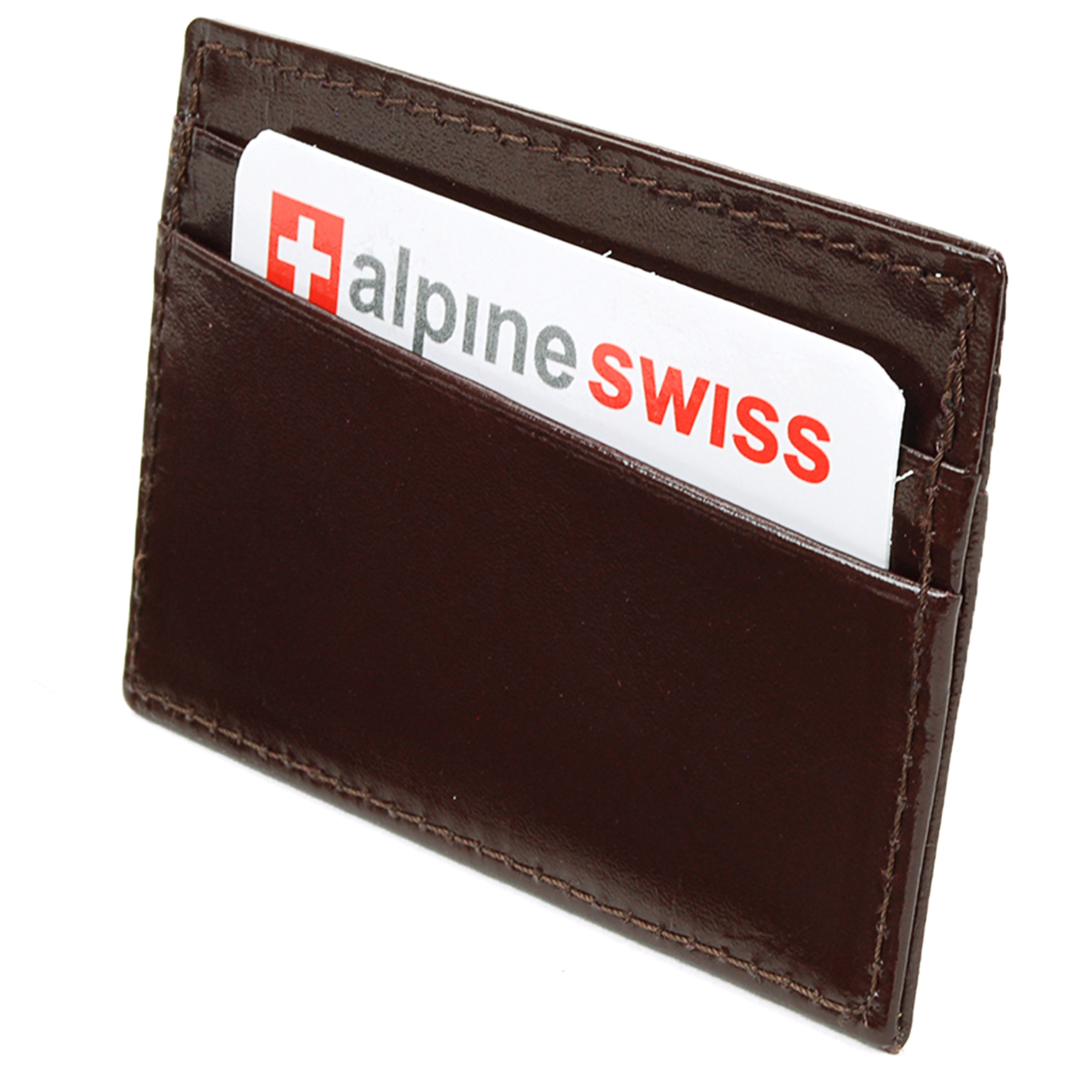 Alpine-Swiss-Super-Slim-Card-Case-Genuine-Leather-ID-Holder-Front-Pocket-Wallet thumbnail 43